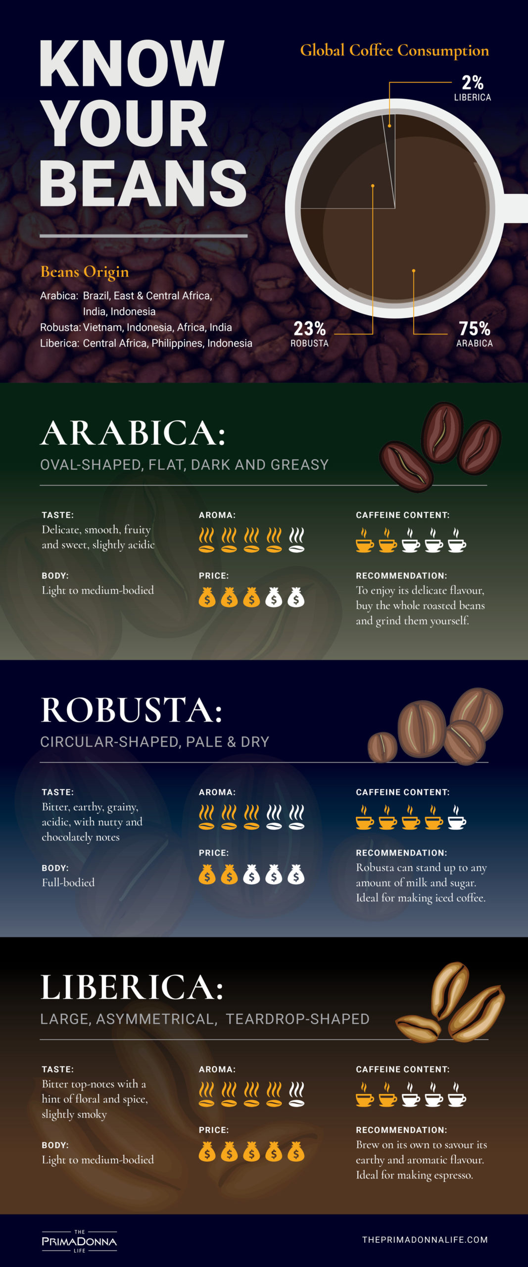 an infographic about arabica, robusta, and liberica coffee beans