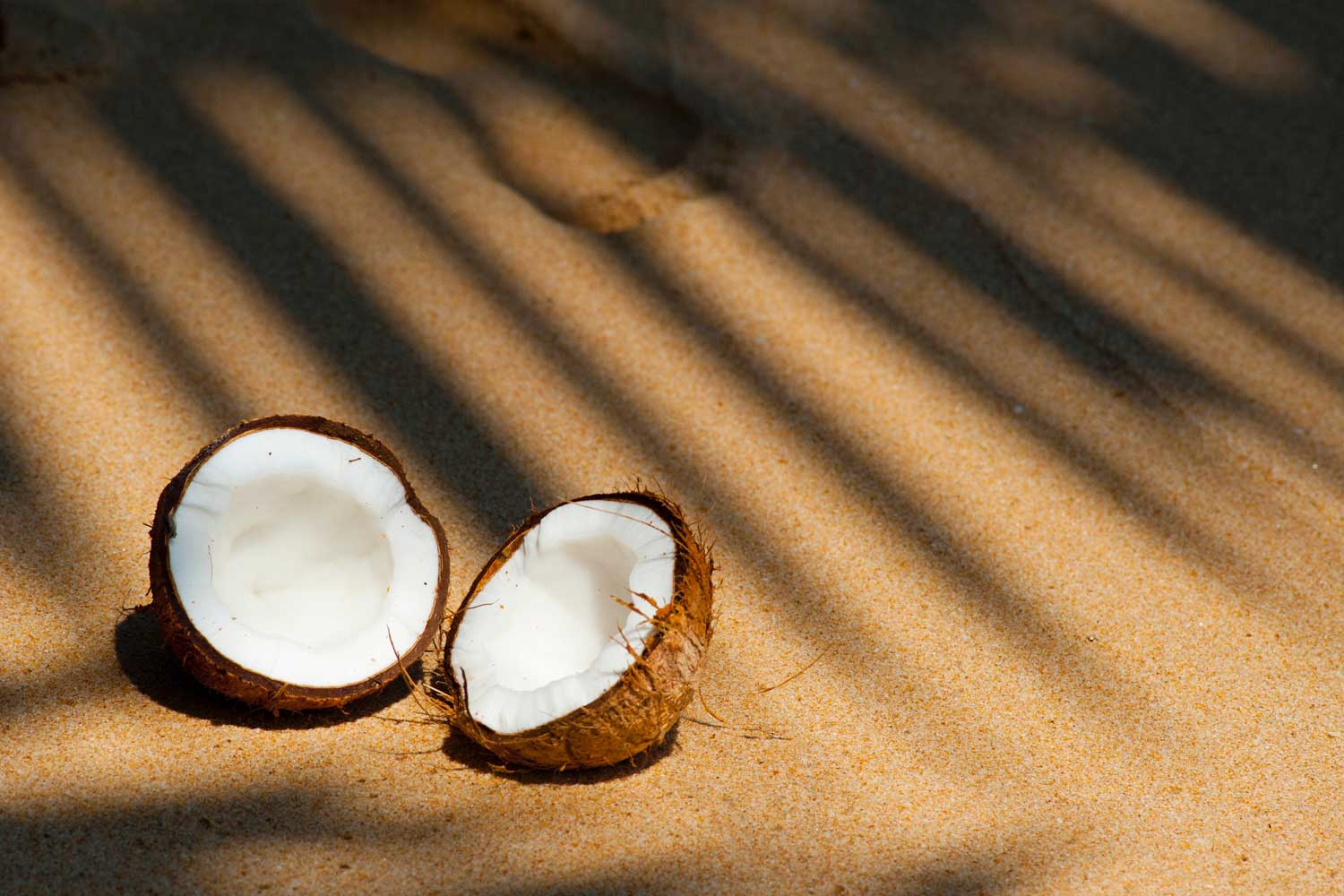 Two halves of a coconut placed on sand