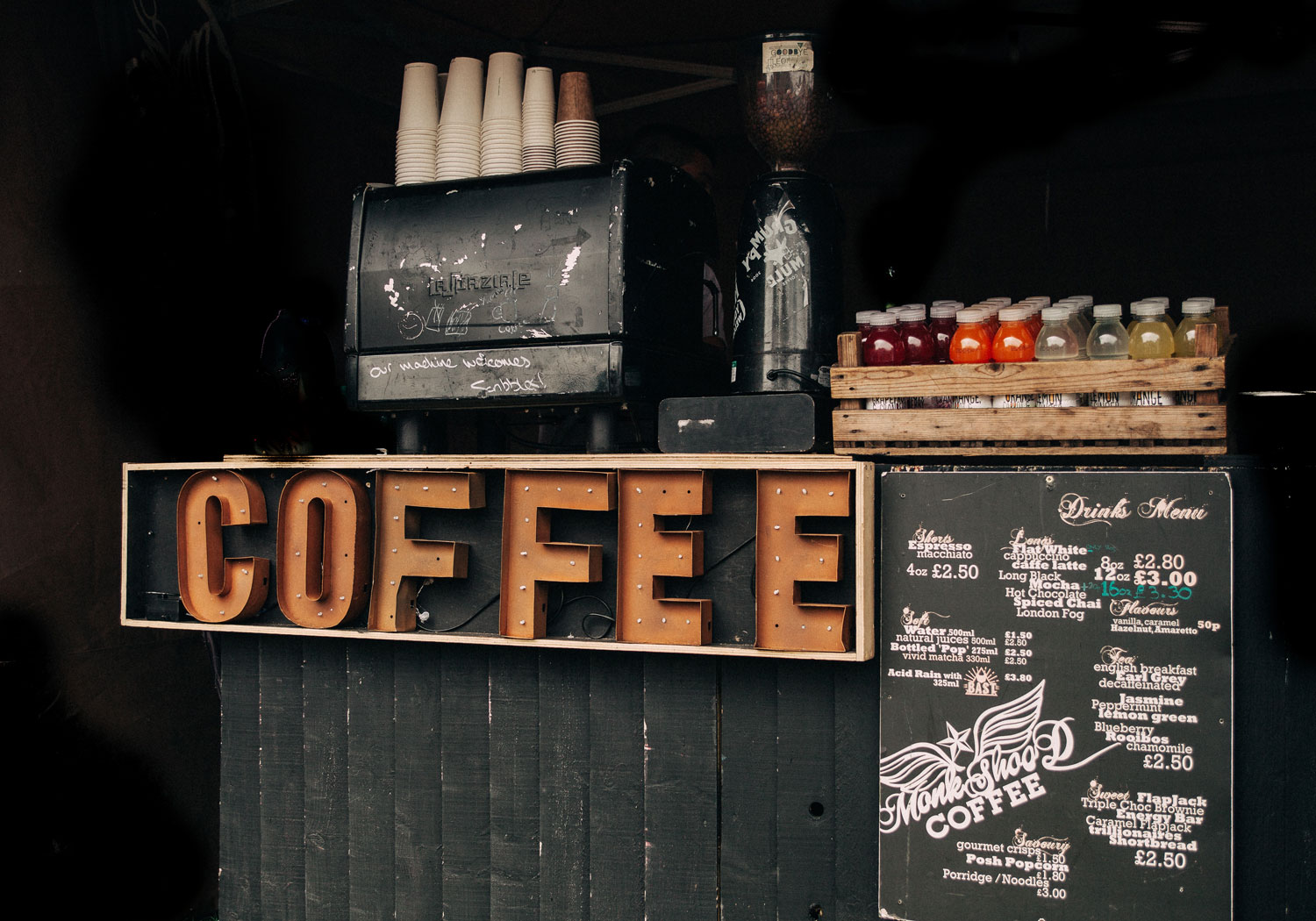 A picture of the front of a cafe's counter