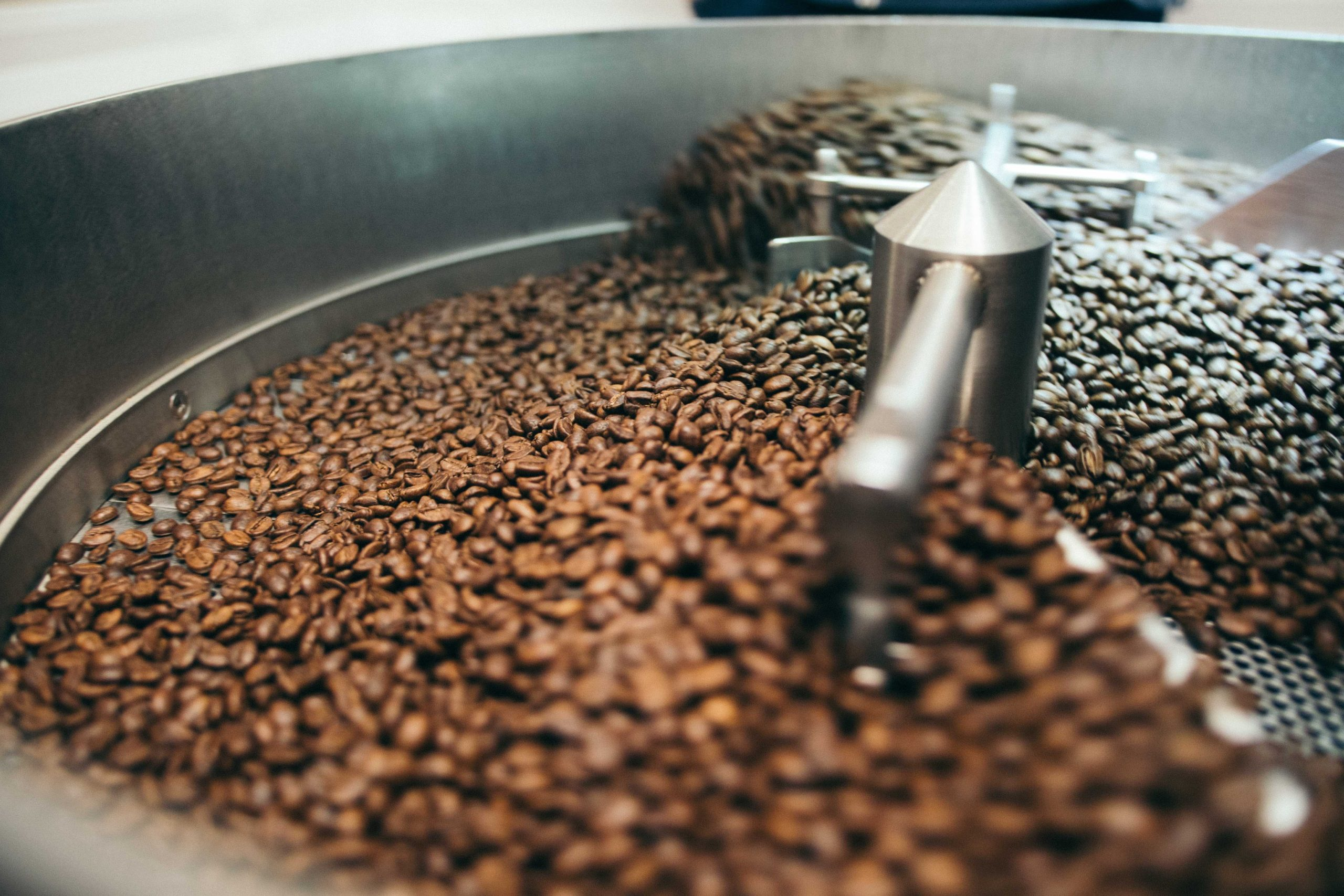 a coffee roasting machine in operation