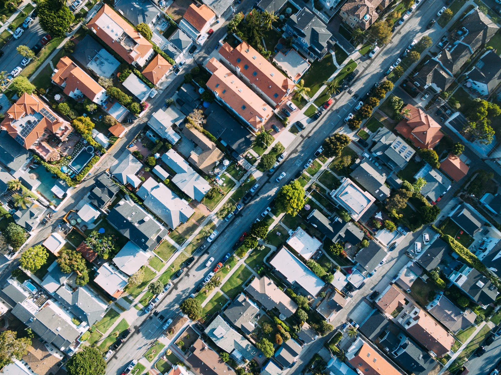 an aerial view of a residential area