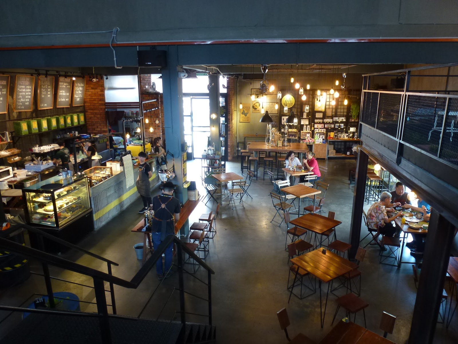 An aerial view of a cafe