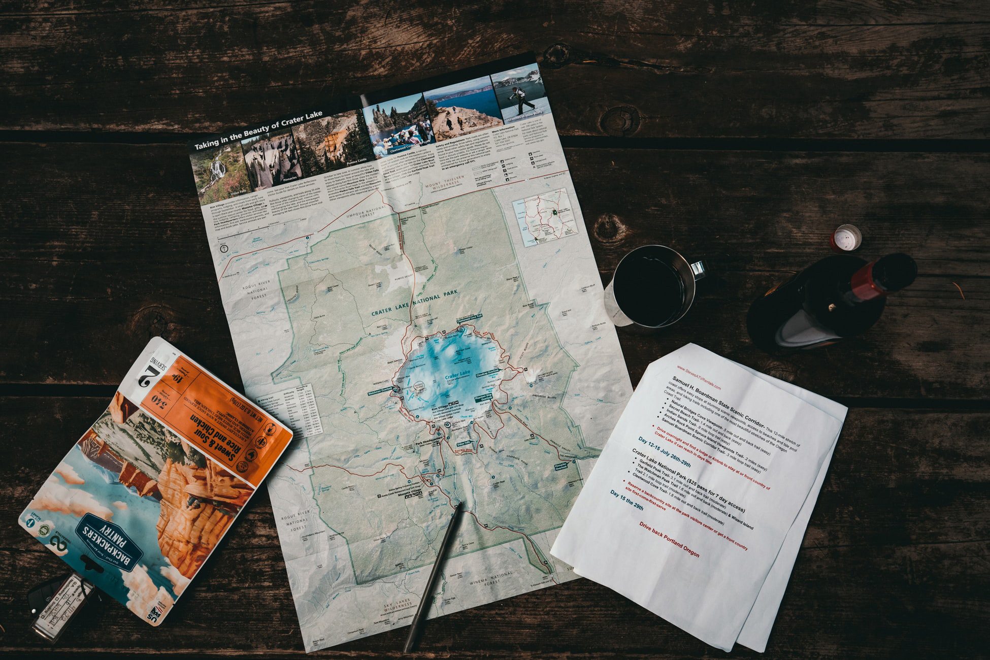 picture of a map and important travel documents on a table