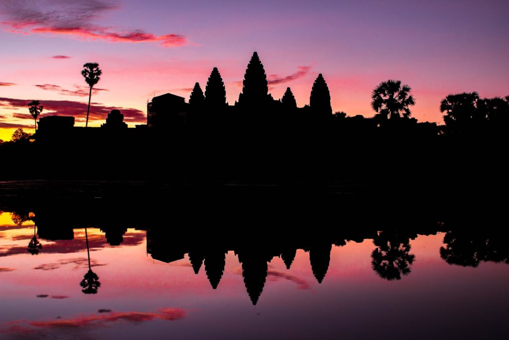 a sunset silhouette of Cambodia