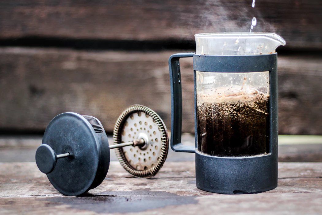 A french press with the lid taken off