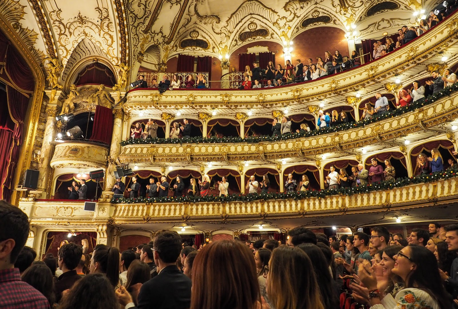 a standing ovation in an opera theatre