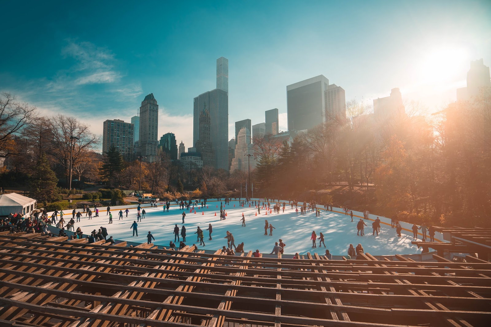 An ice skating rink in the middle of a city
