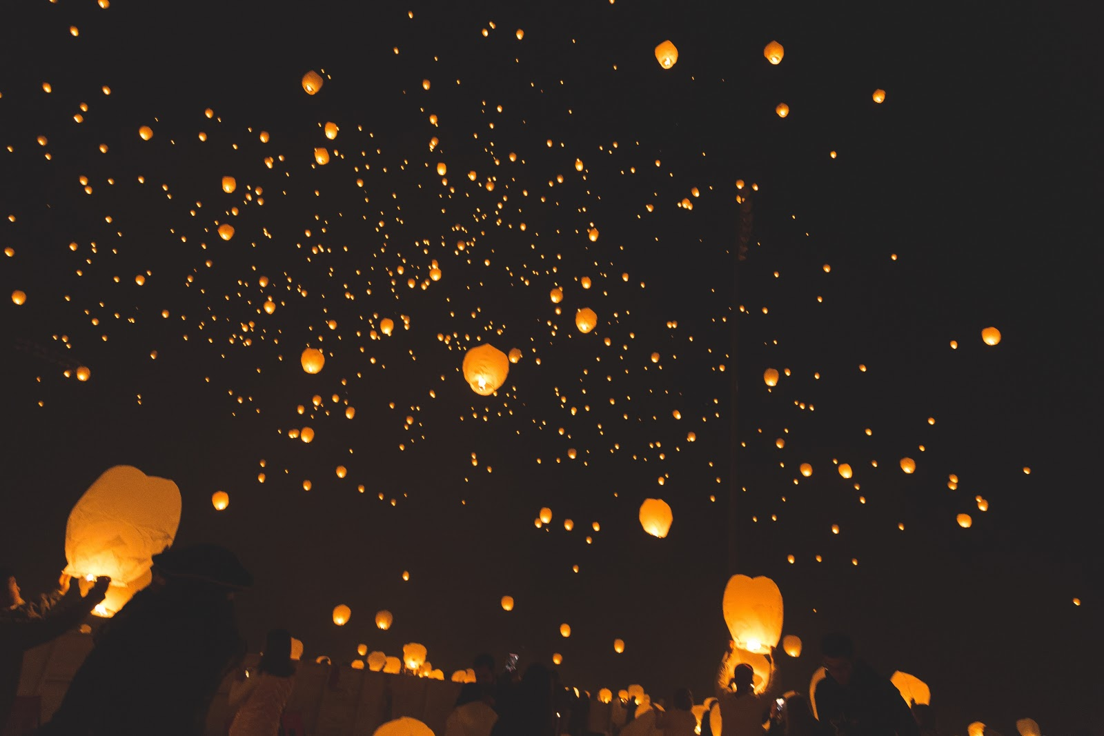 Releasing lanterns into the sky