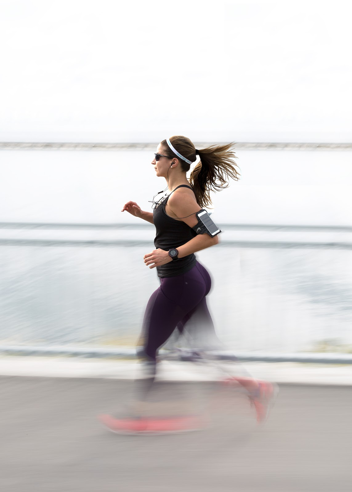 A female running outdoors