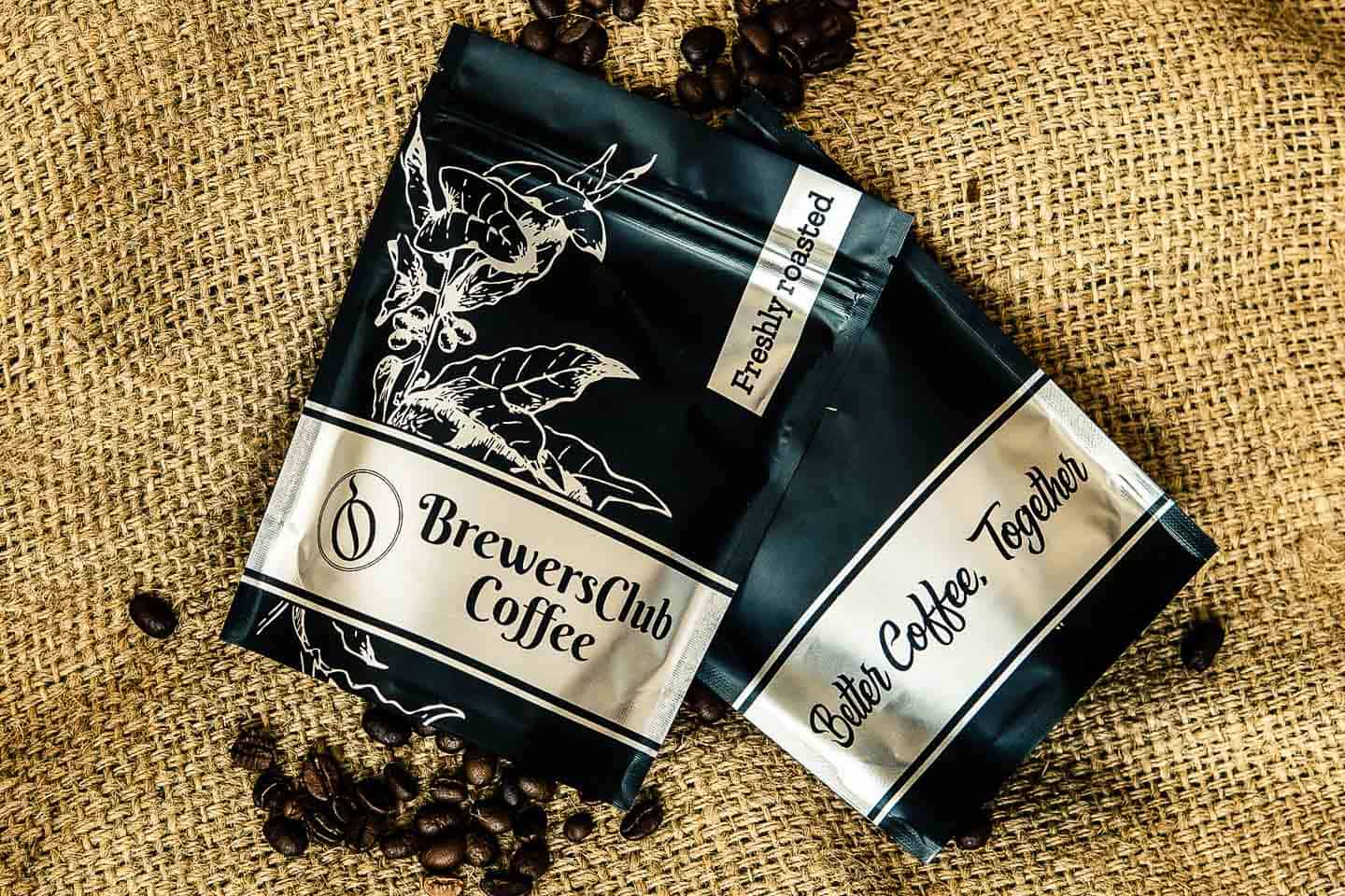 two bags of coffee beans from BrewersClub Coffee