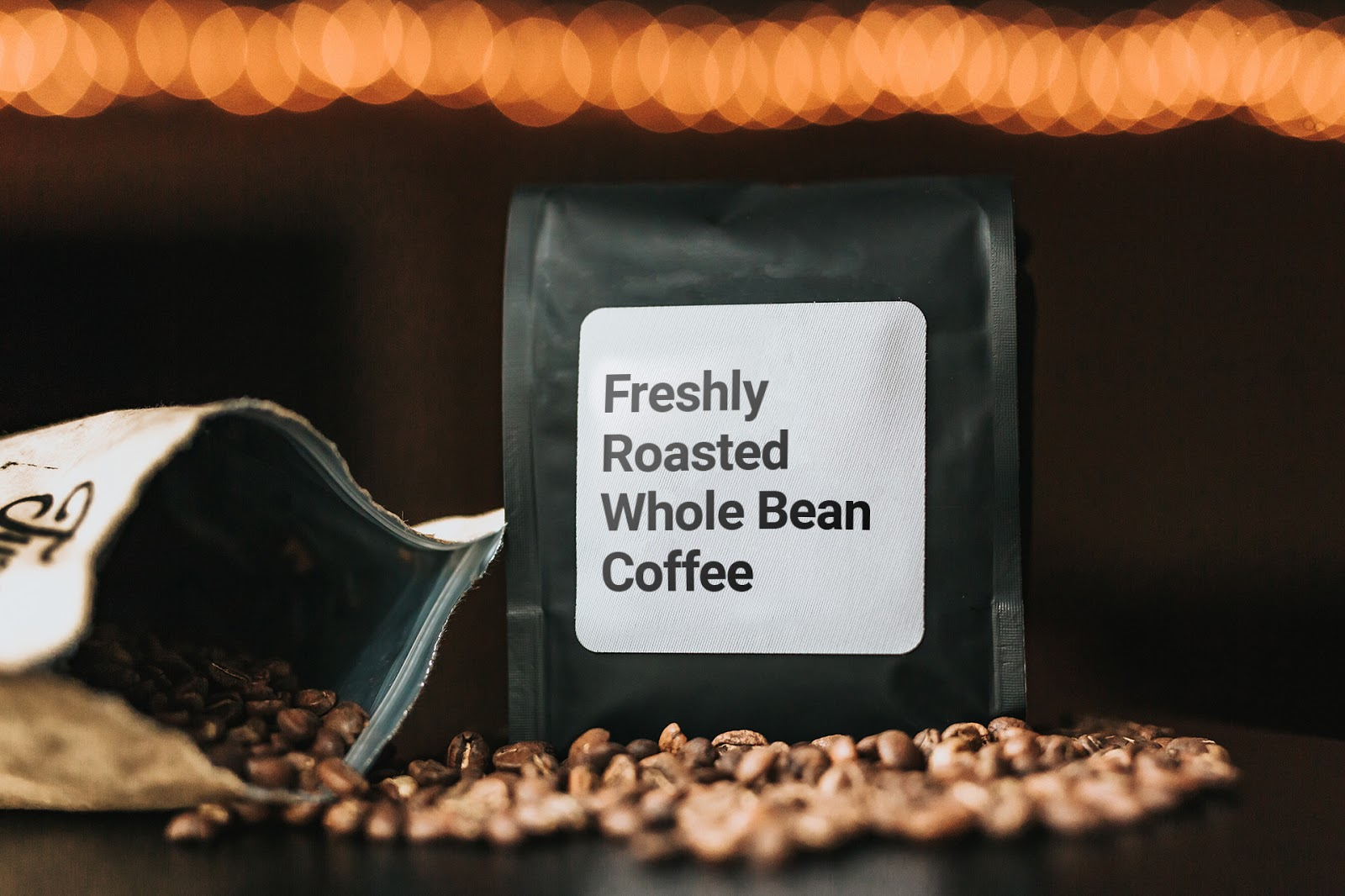 a bag of freshly roasted coffee beans