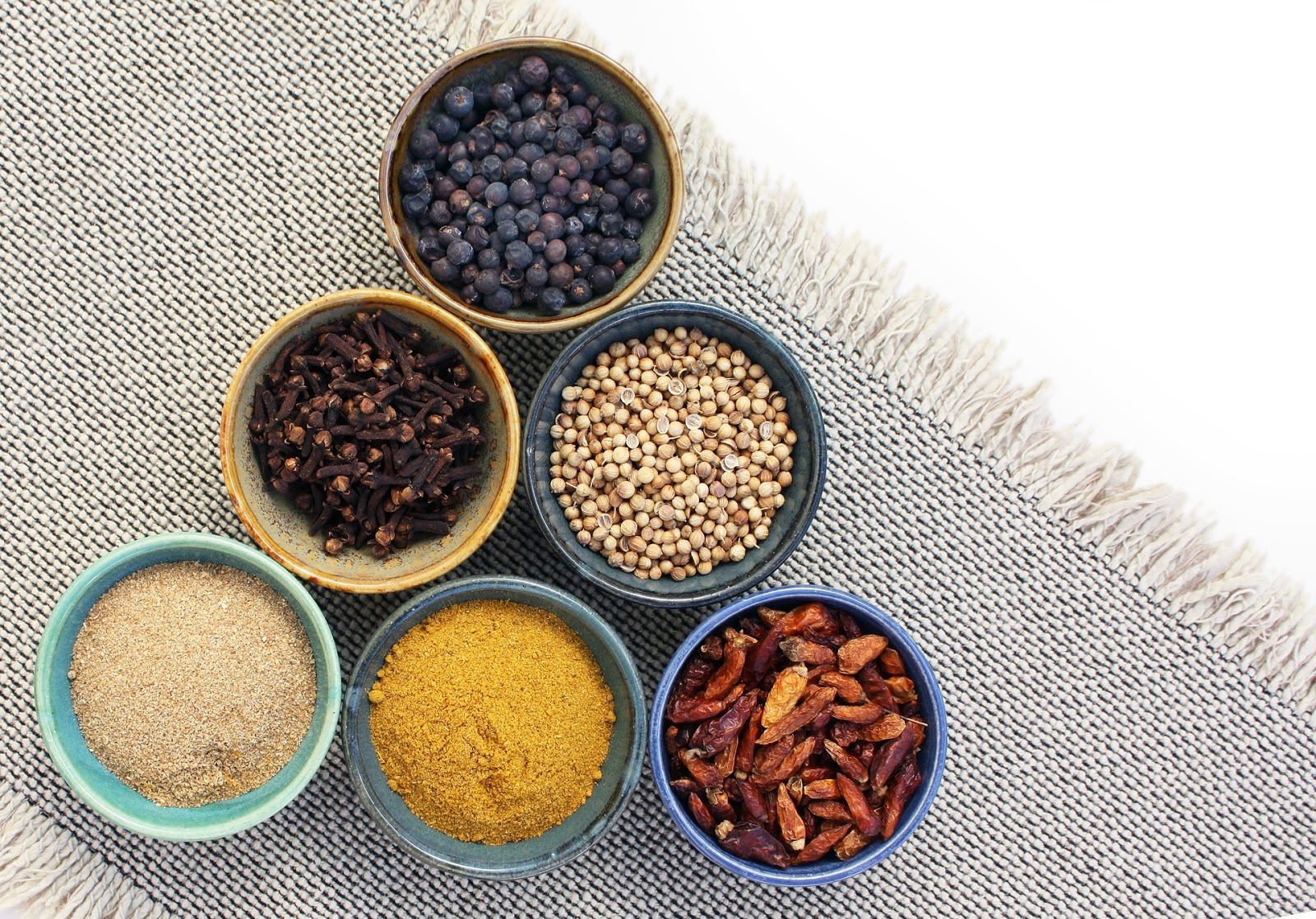 bowls of various spices