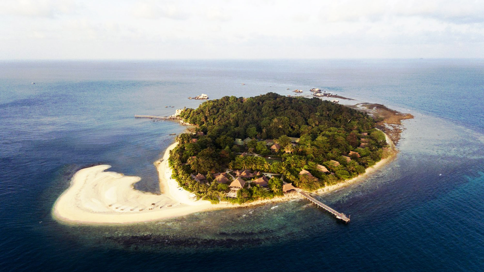 Aerial view of an island