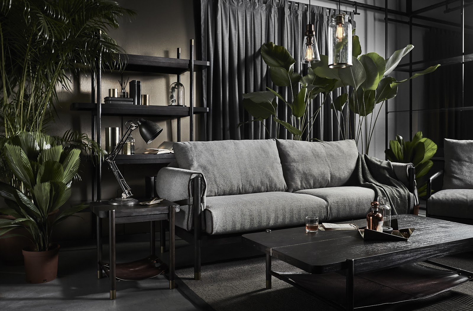 a grey sofa in a living room