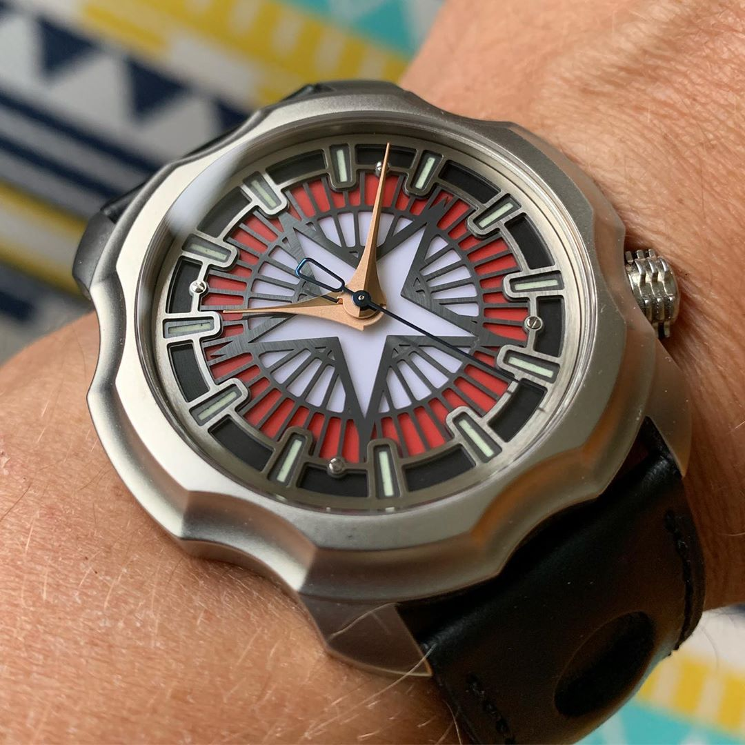 a watch with a design inspired by Captain America's shield