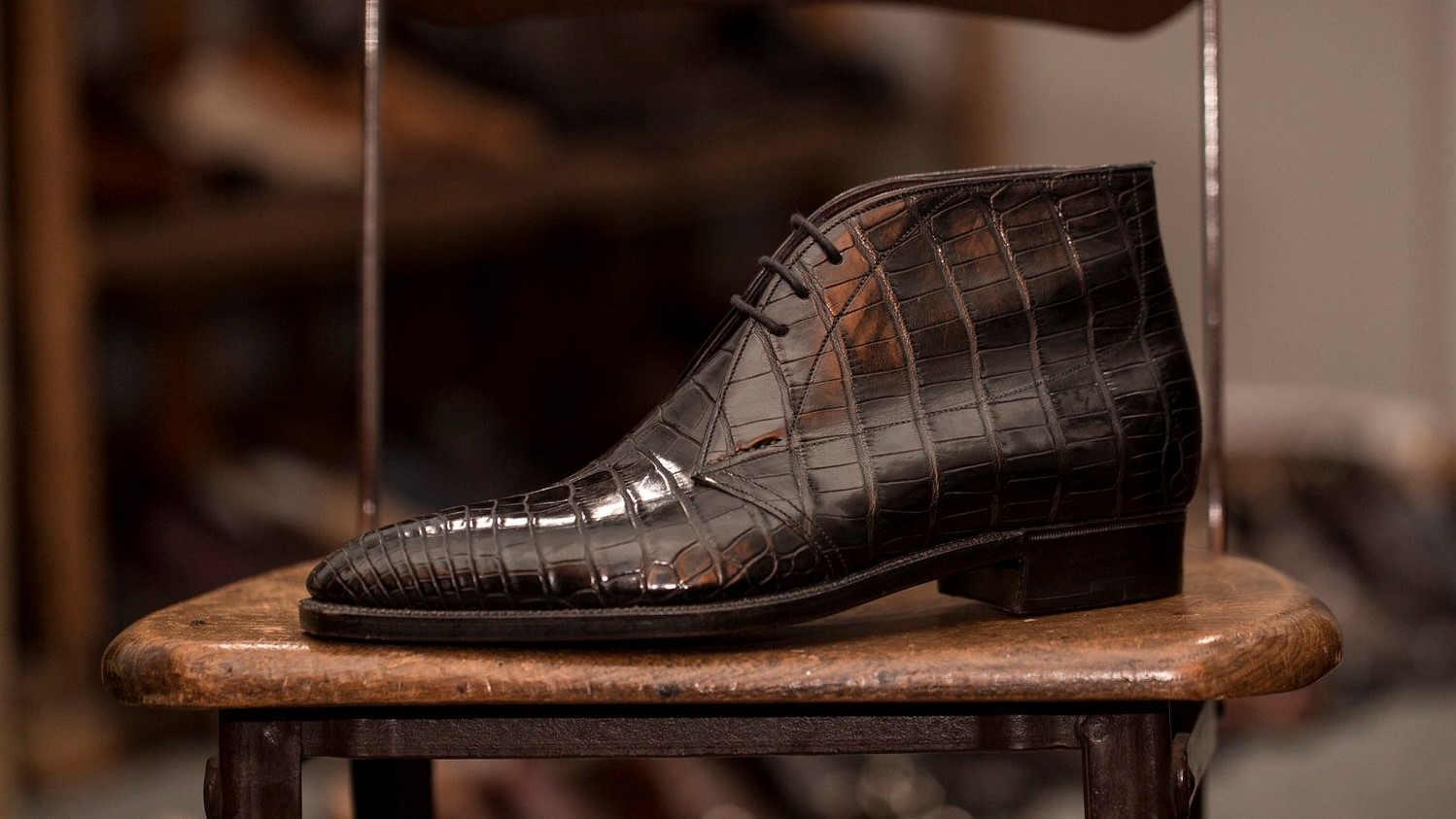 A brown leather shoe by Kevin Seah Bespoke