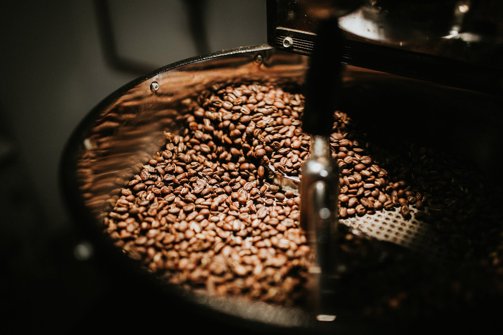 coffee beans being roasted in a coffee roasting machine