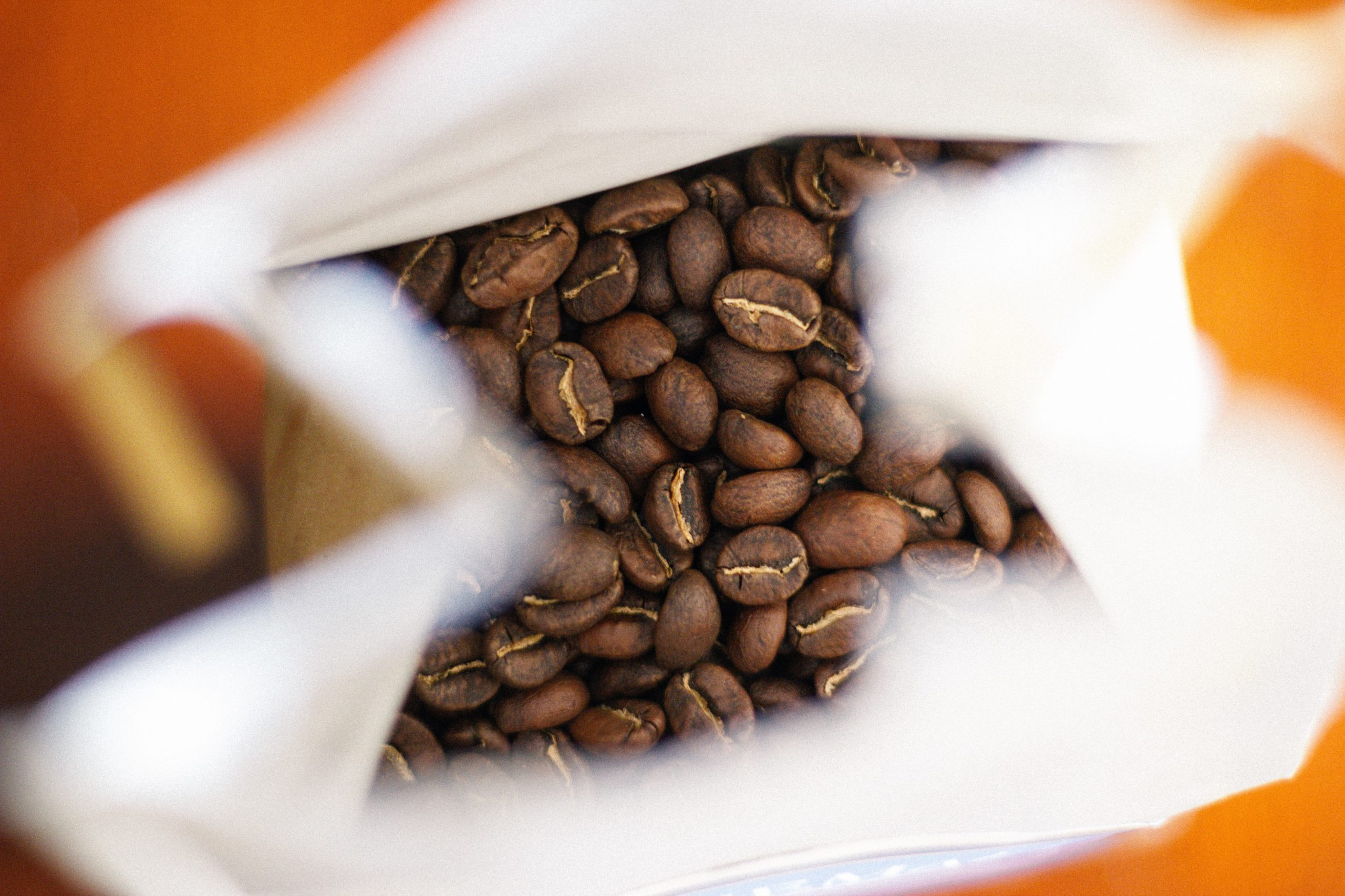 coffee beans in a paper bag
