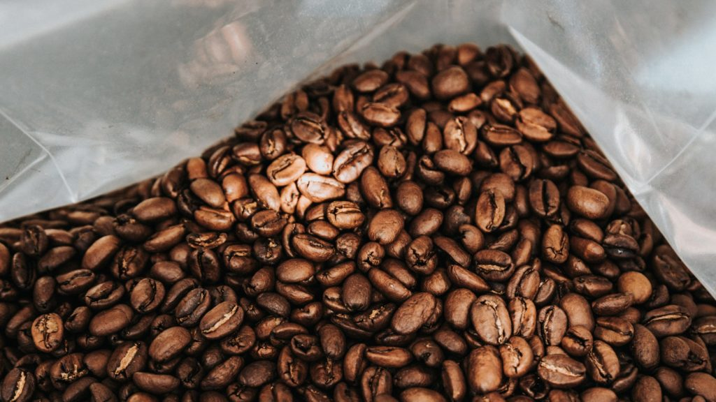 coffee beans in a plastic bag