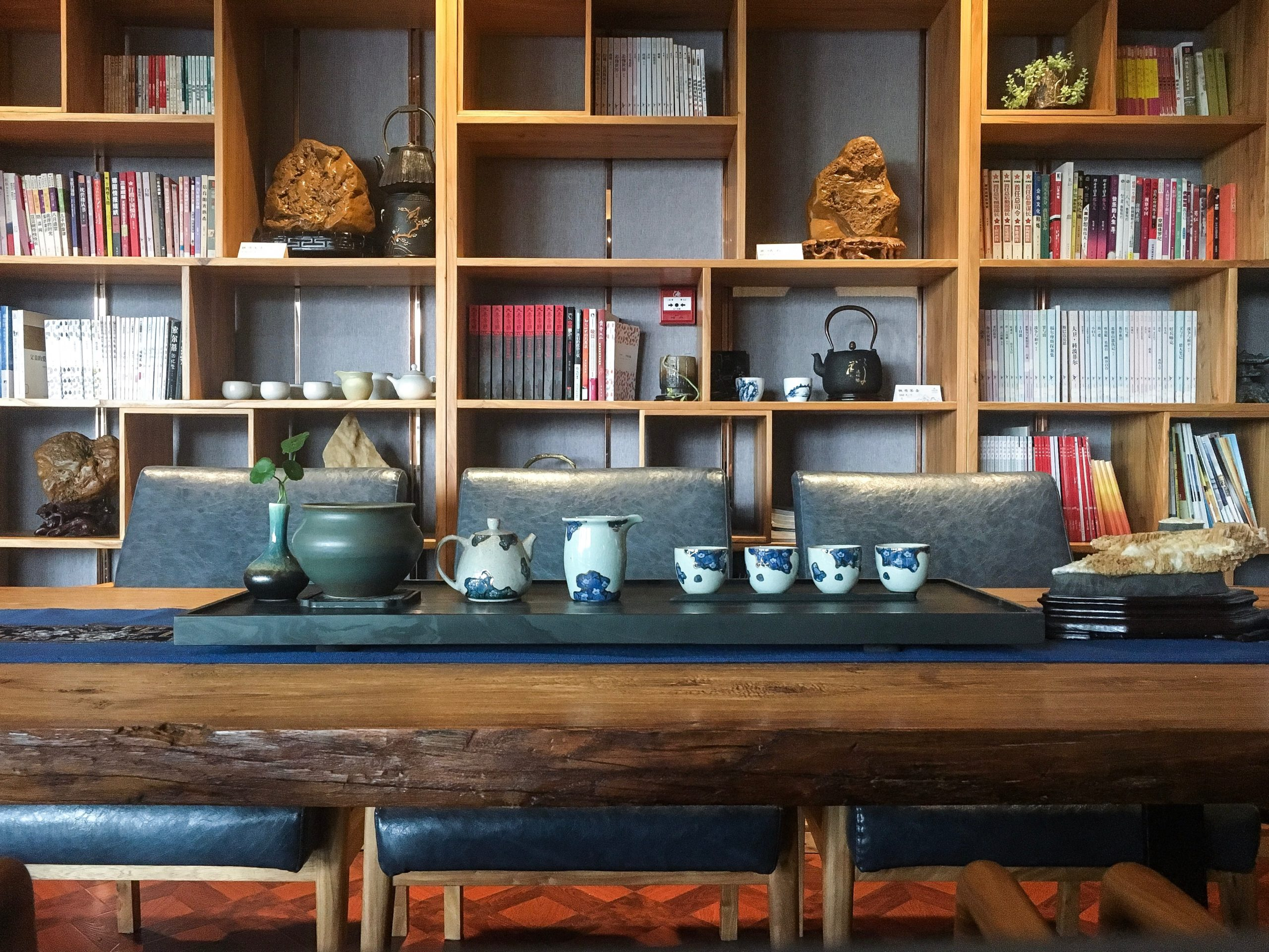 Chinaware placed on a wooden table