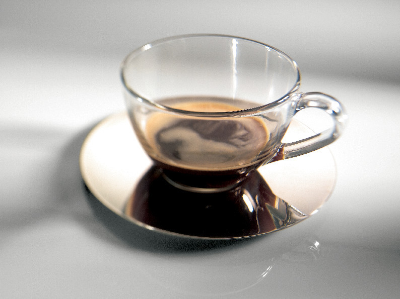 black coffee in a transparent cup