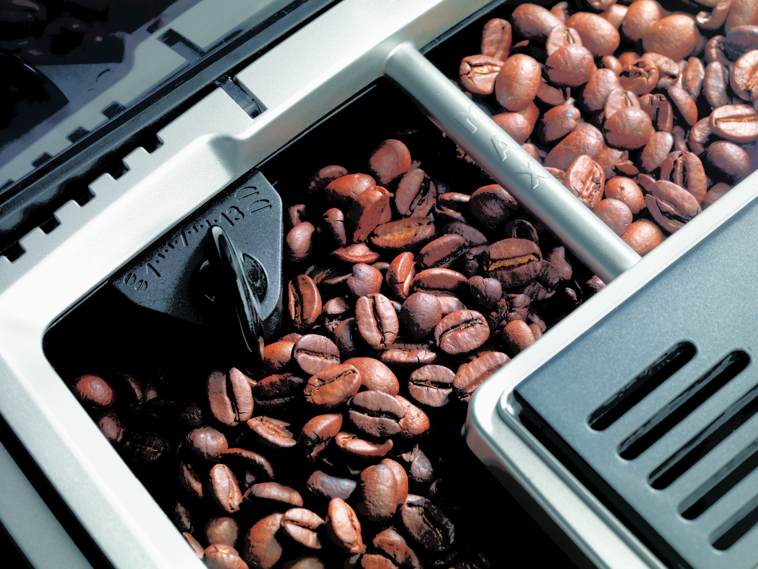 coffee beans in a coffee machine