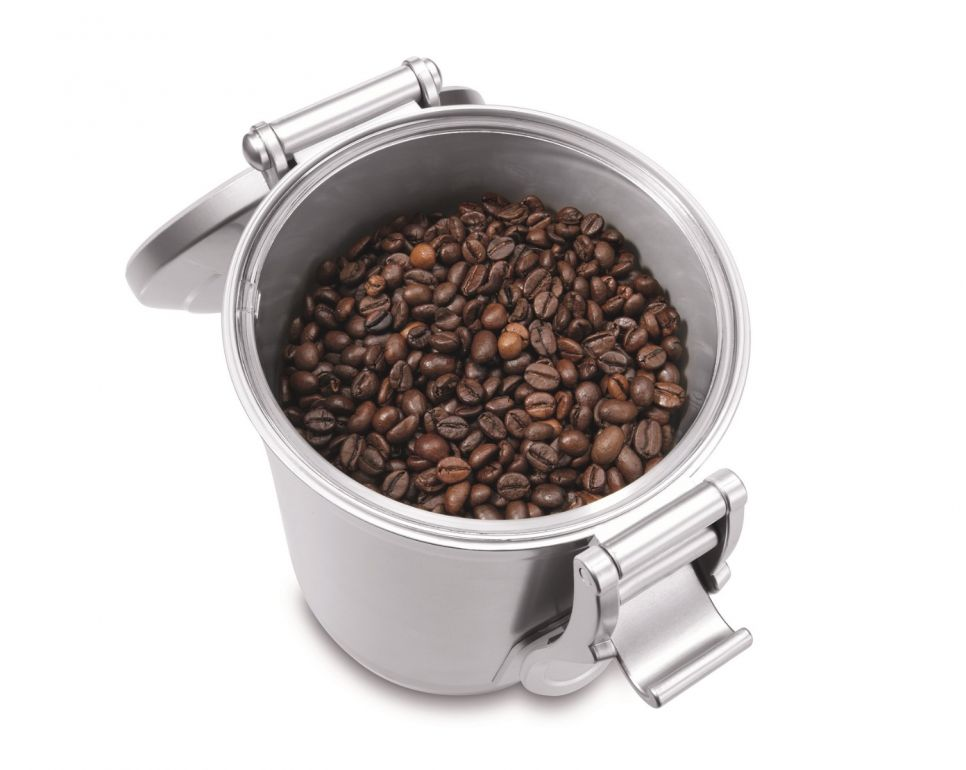 coffee beans in an opened vacuum canister