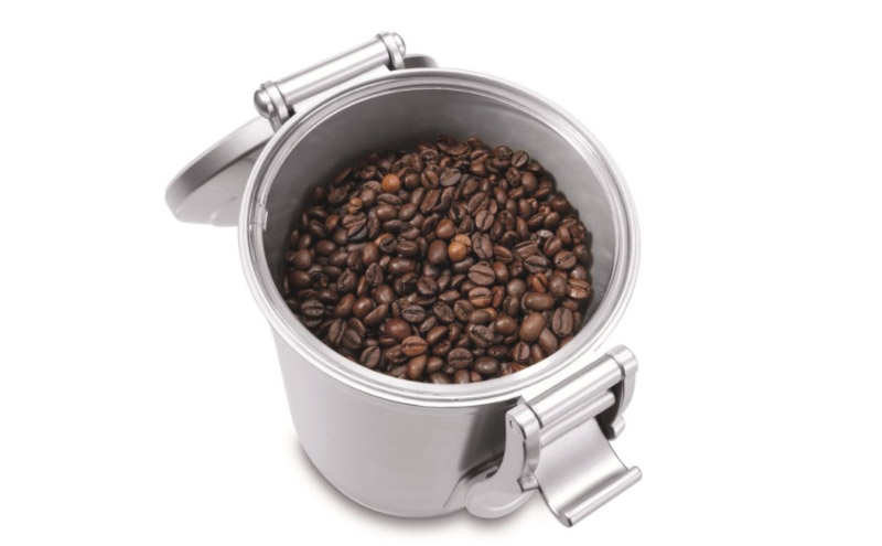 coffee beans in a vacuum coffee cannister