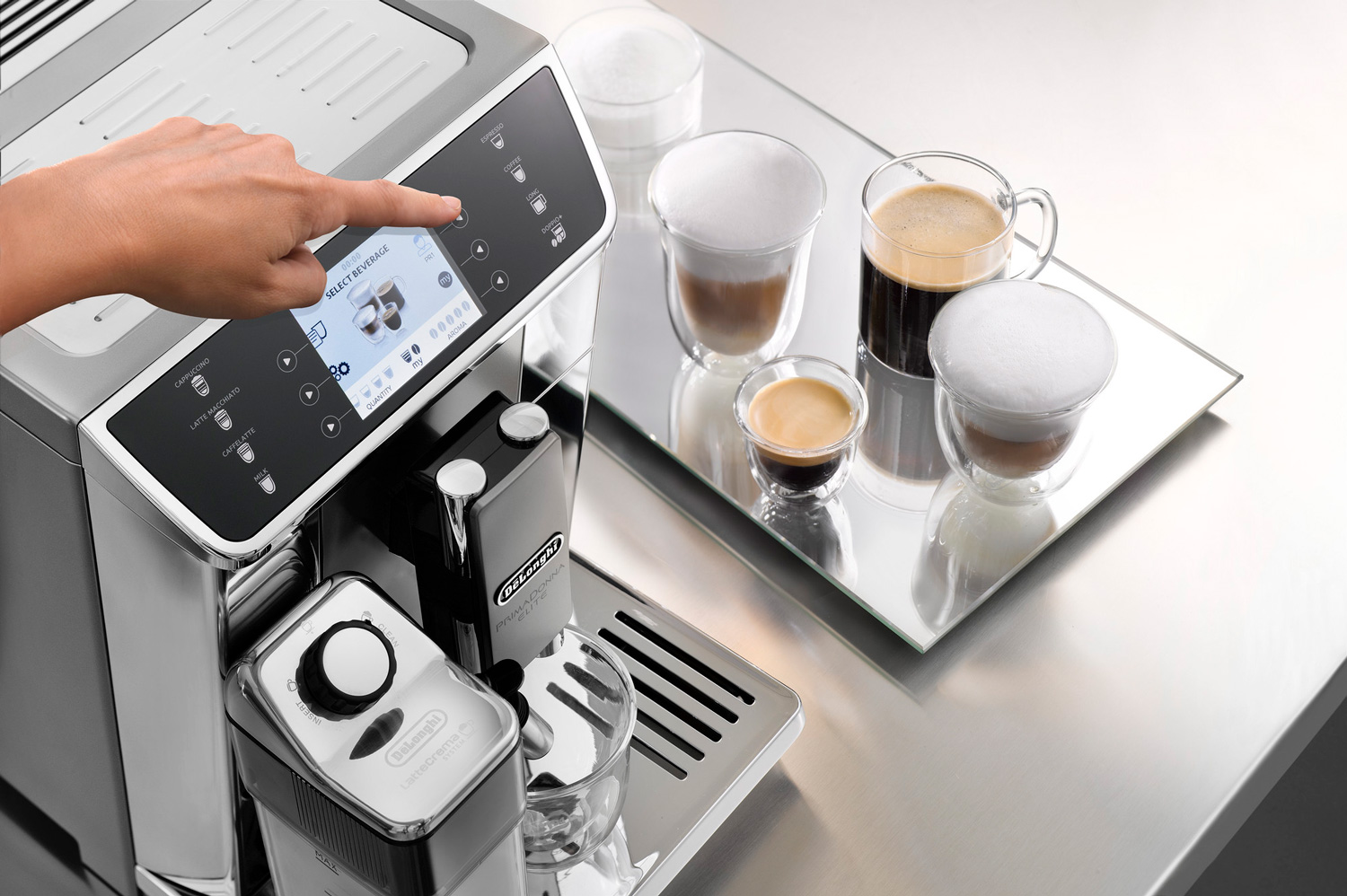 pressing a button on a coffee machine