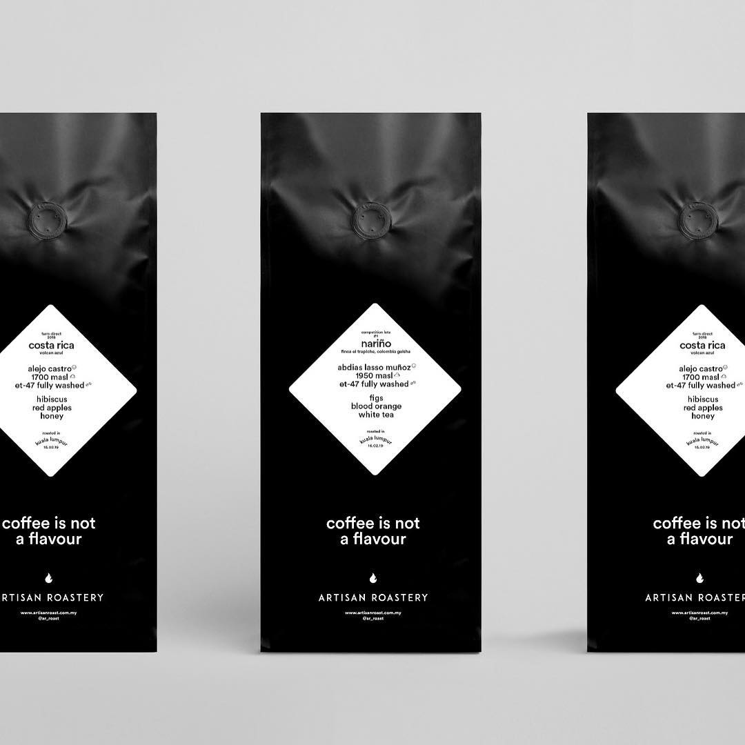 Three different packagings for Artisan Roastery's coffee beans