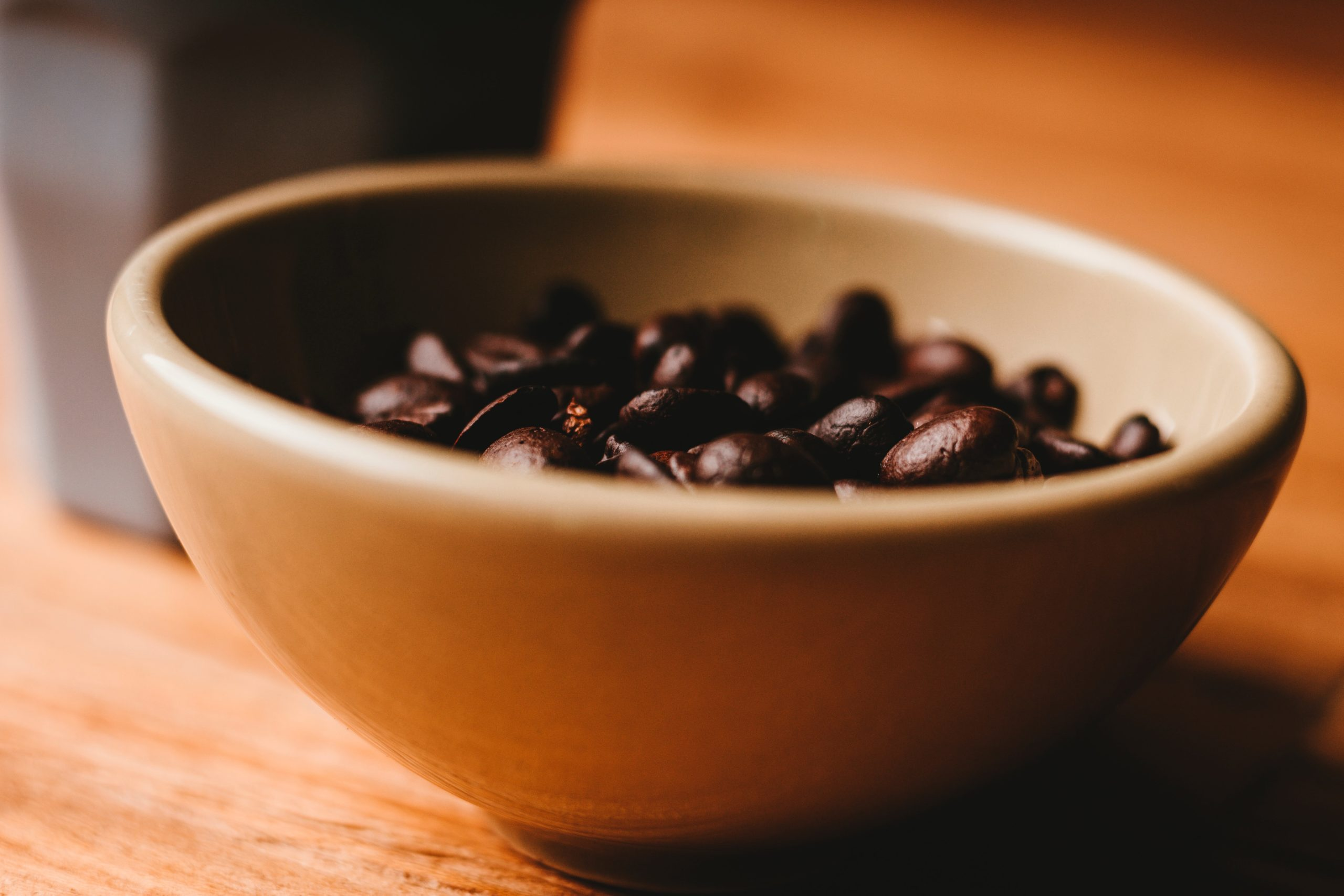 coffee beans in a cereal bowl