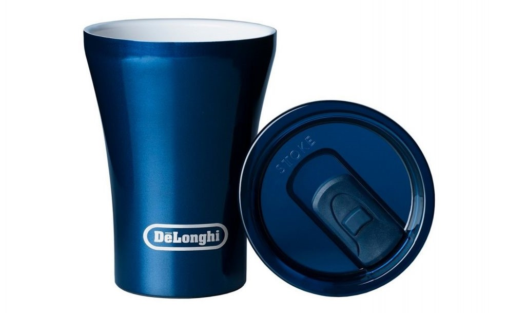a blue coloured ceramic reusable coffee cup