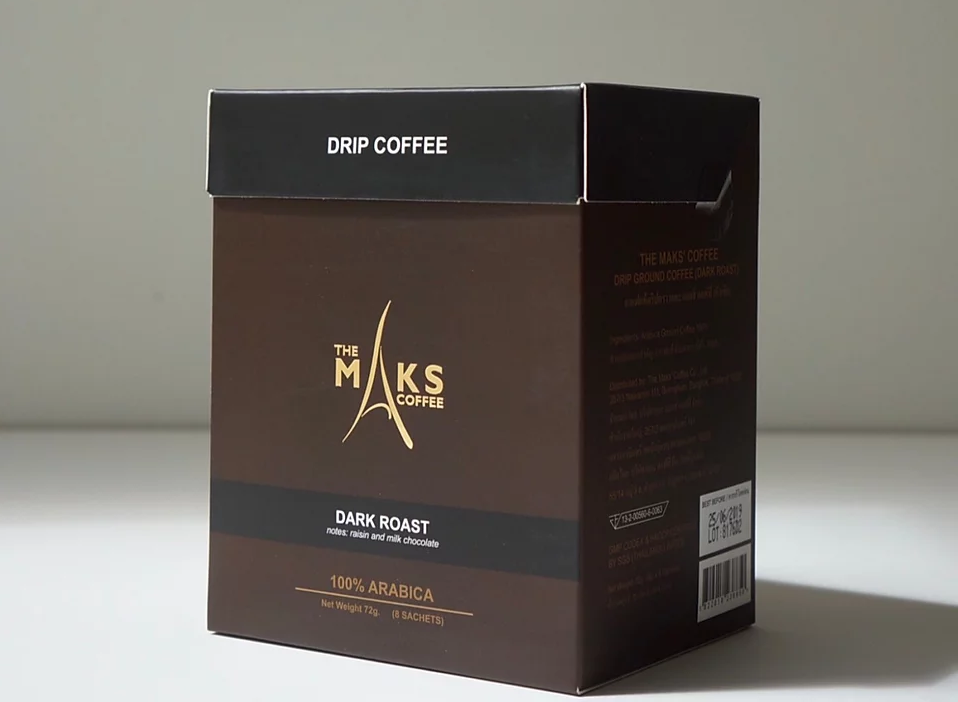 a brown box of dark roasted drip coffee from The Maks' Coffee