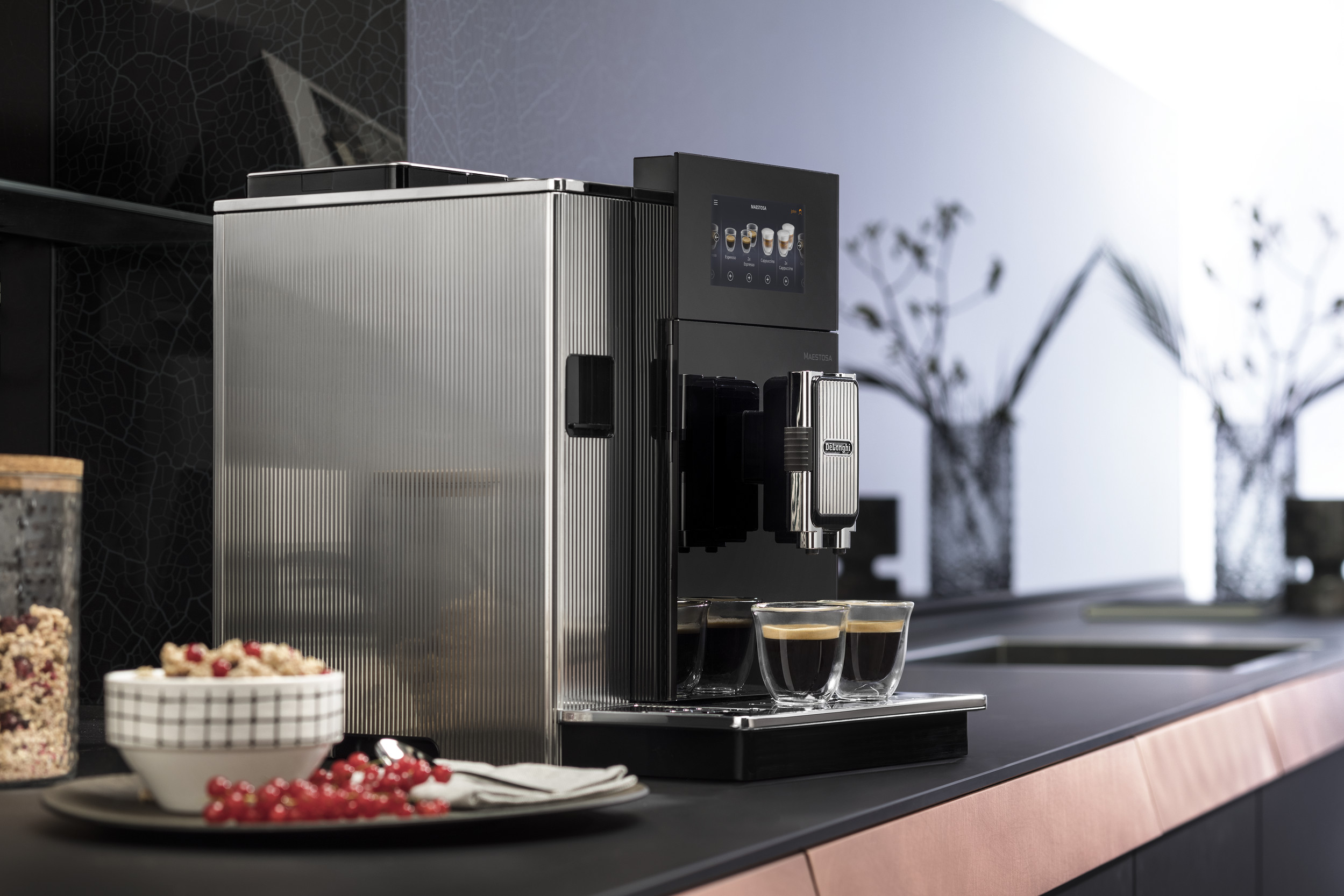 The De'Longhi Maestosa Coffee machine on the table