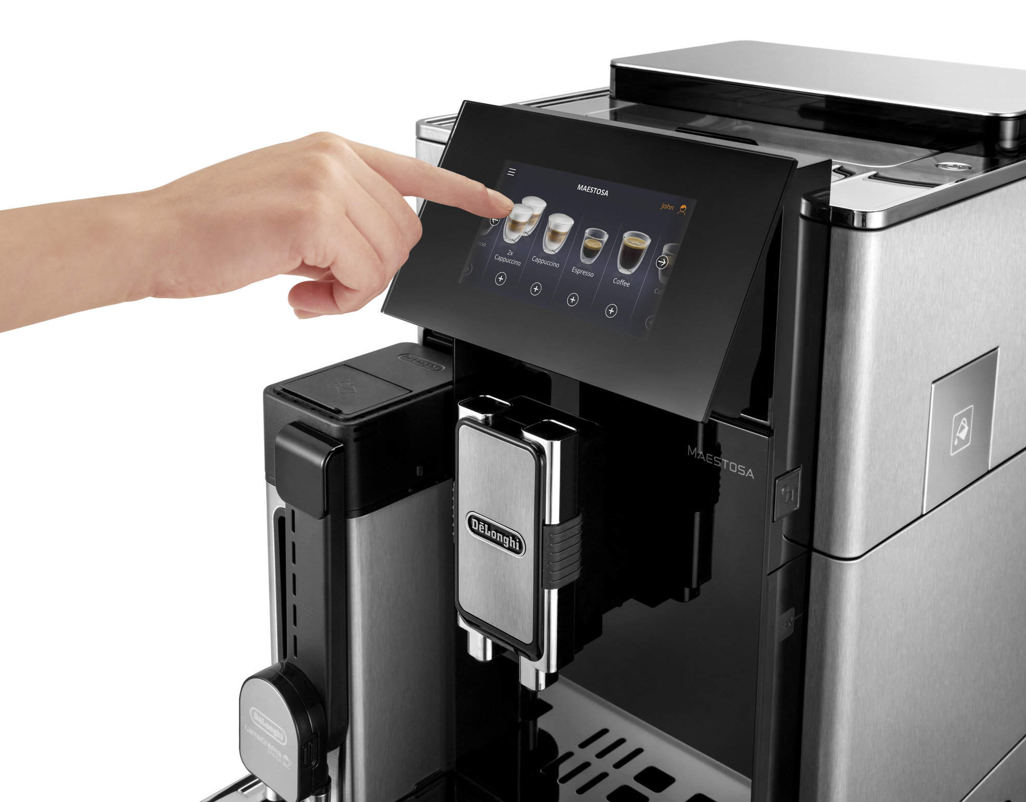 pressing a button on the De'Longhi Maestosa Coffee Machine touch screen display