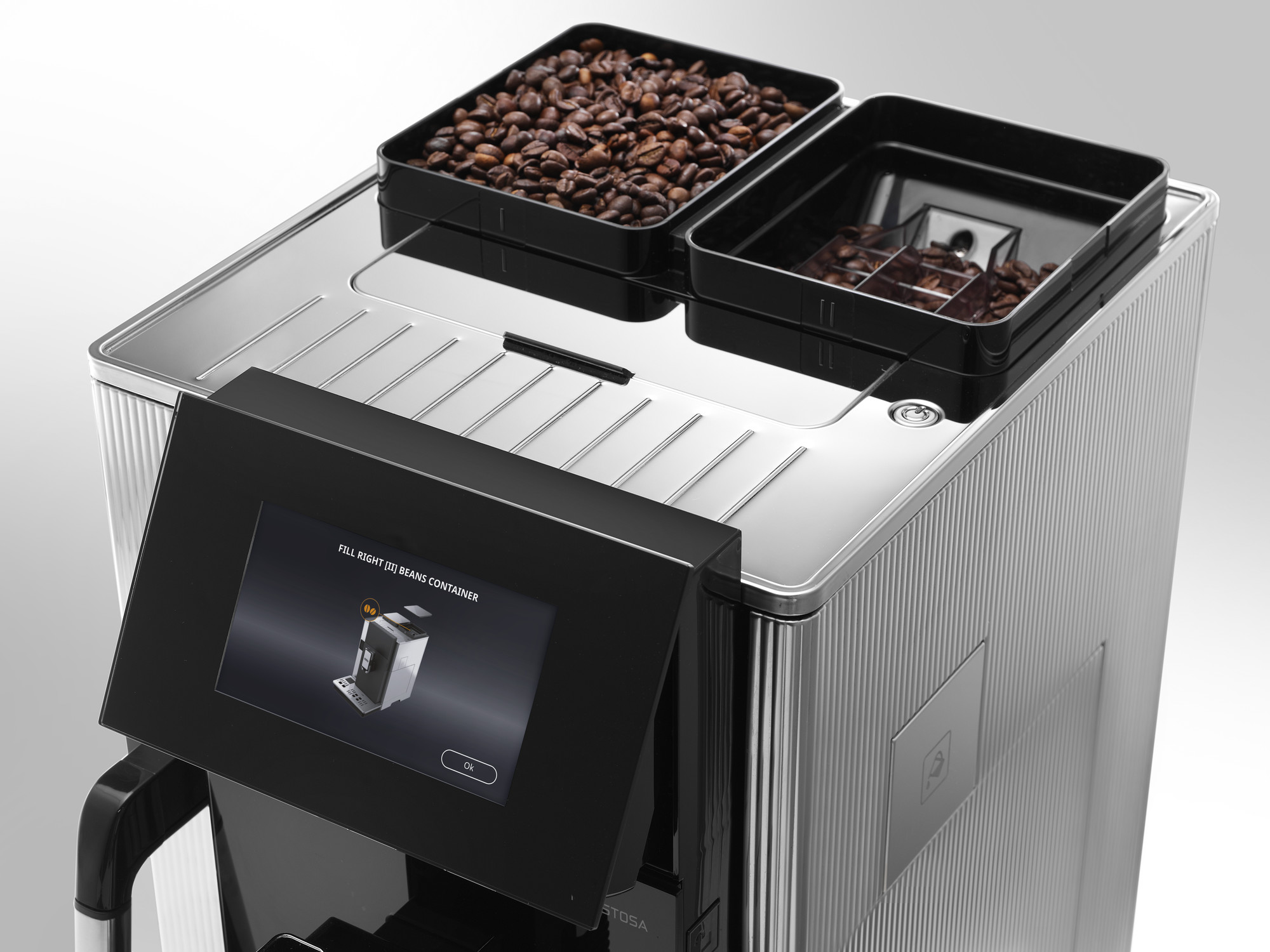 a top view of the De'Longhi Maestosa Coffee Machine and its bean hoppers