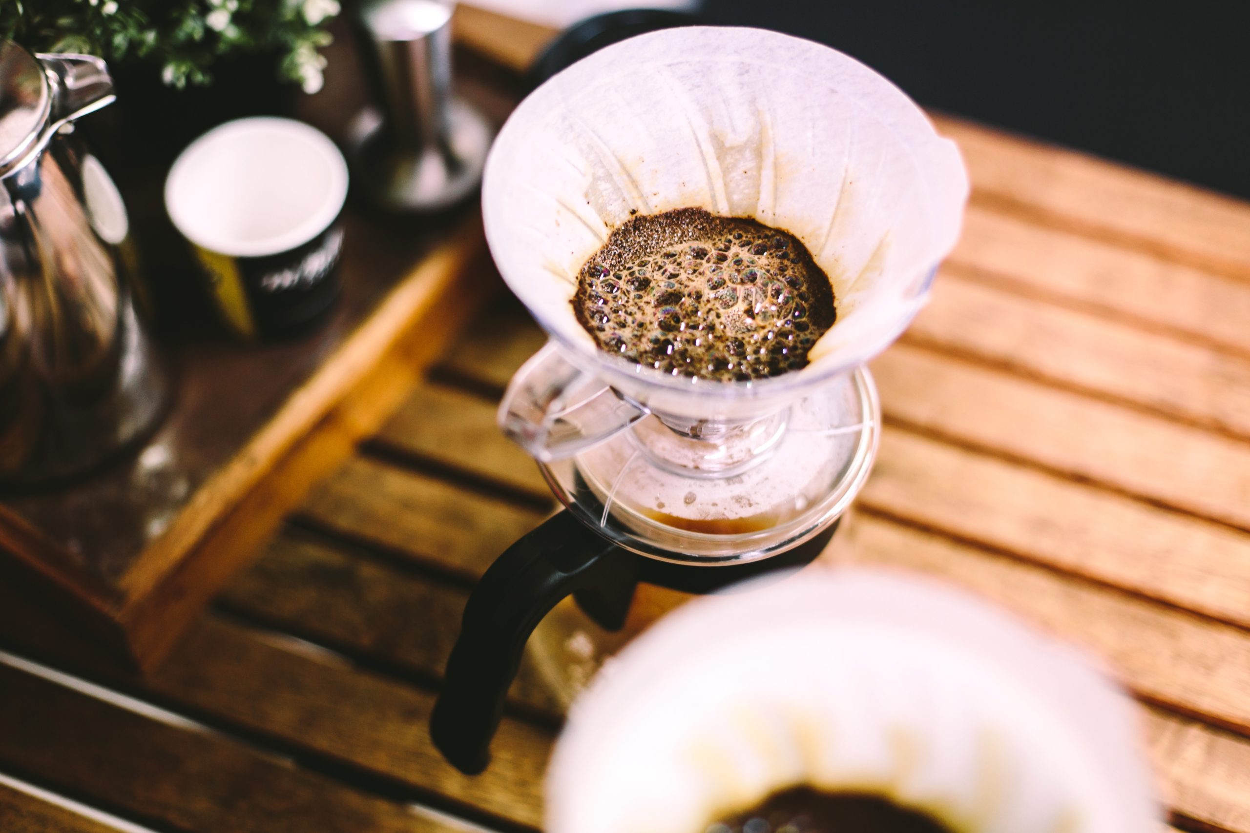 coffee being brewed in a drip coffee