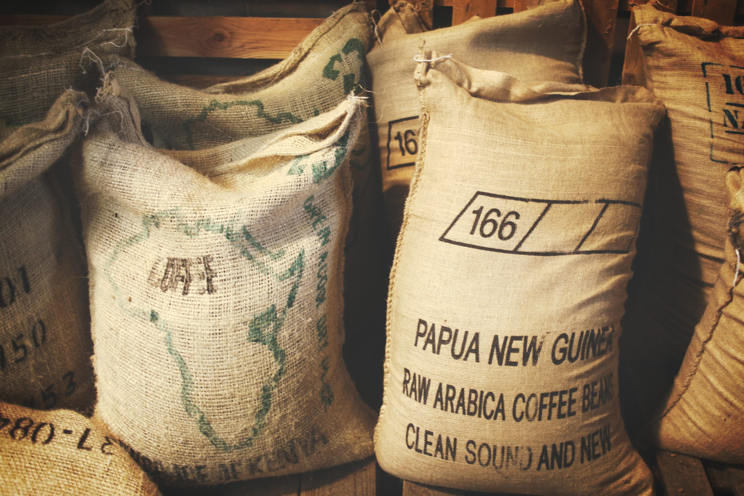 Bags of coffee beans from Papua New Guinea