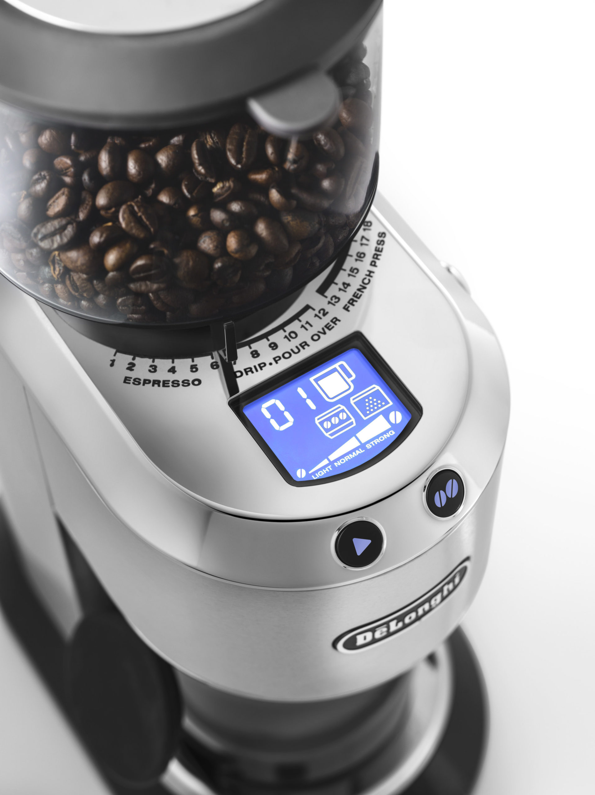 top view of a coffee grinding machine with an LCD display