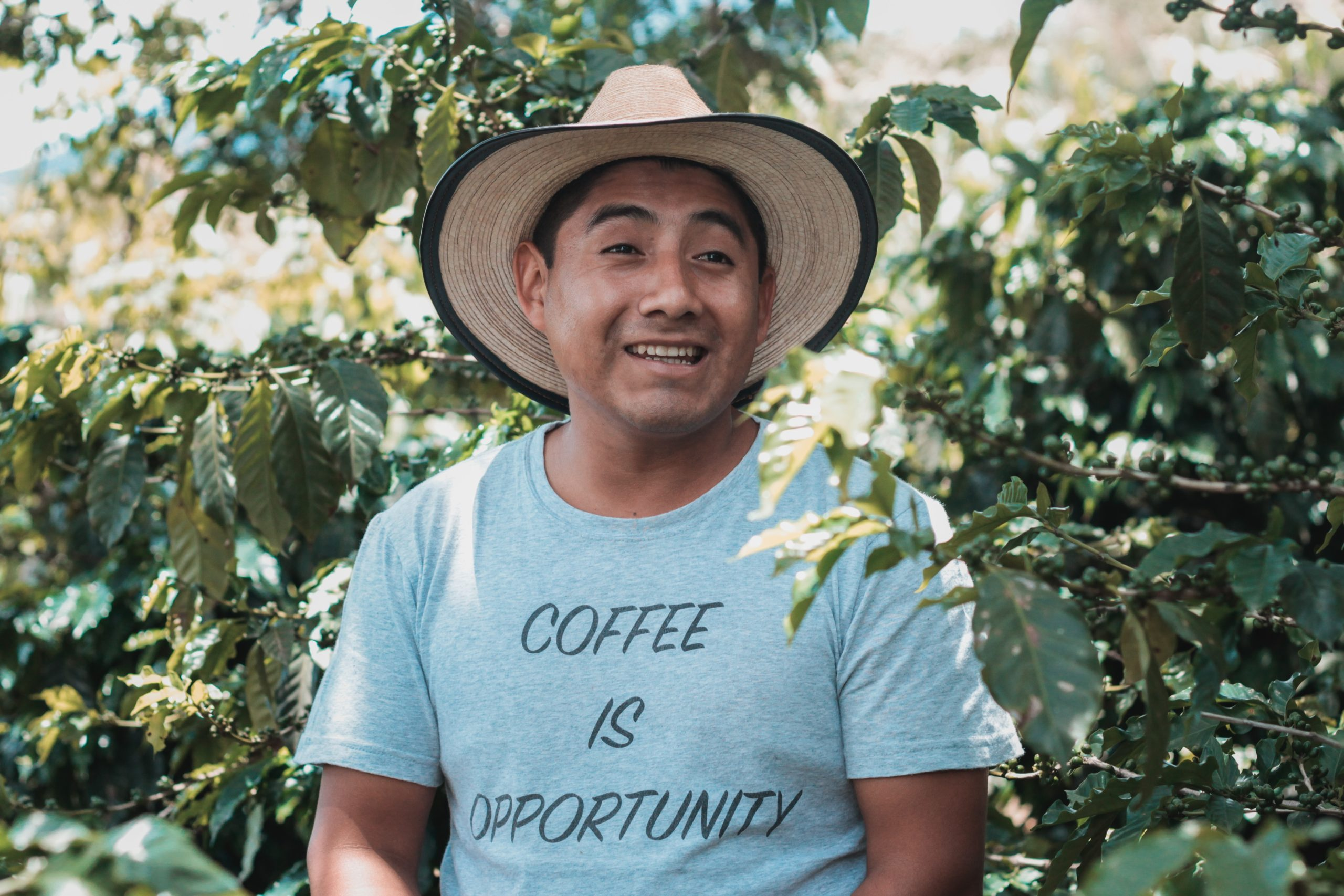 a coffee farmer sitting next to a plant