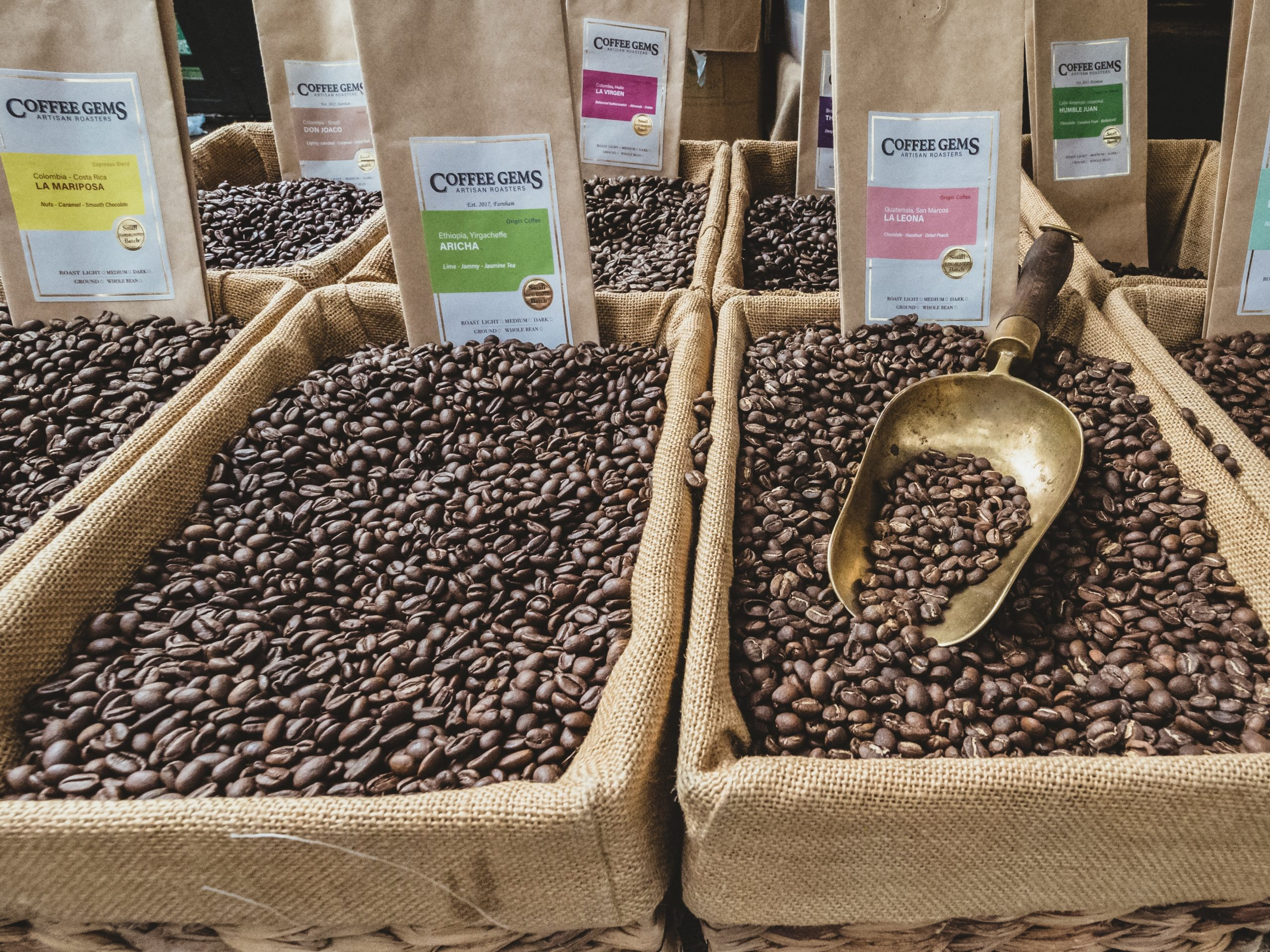 Boxes of coffee beans being retailed