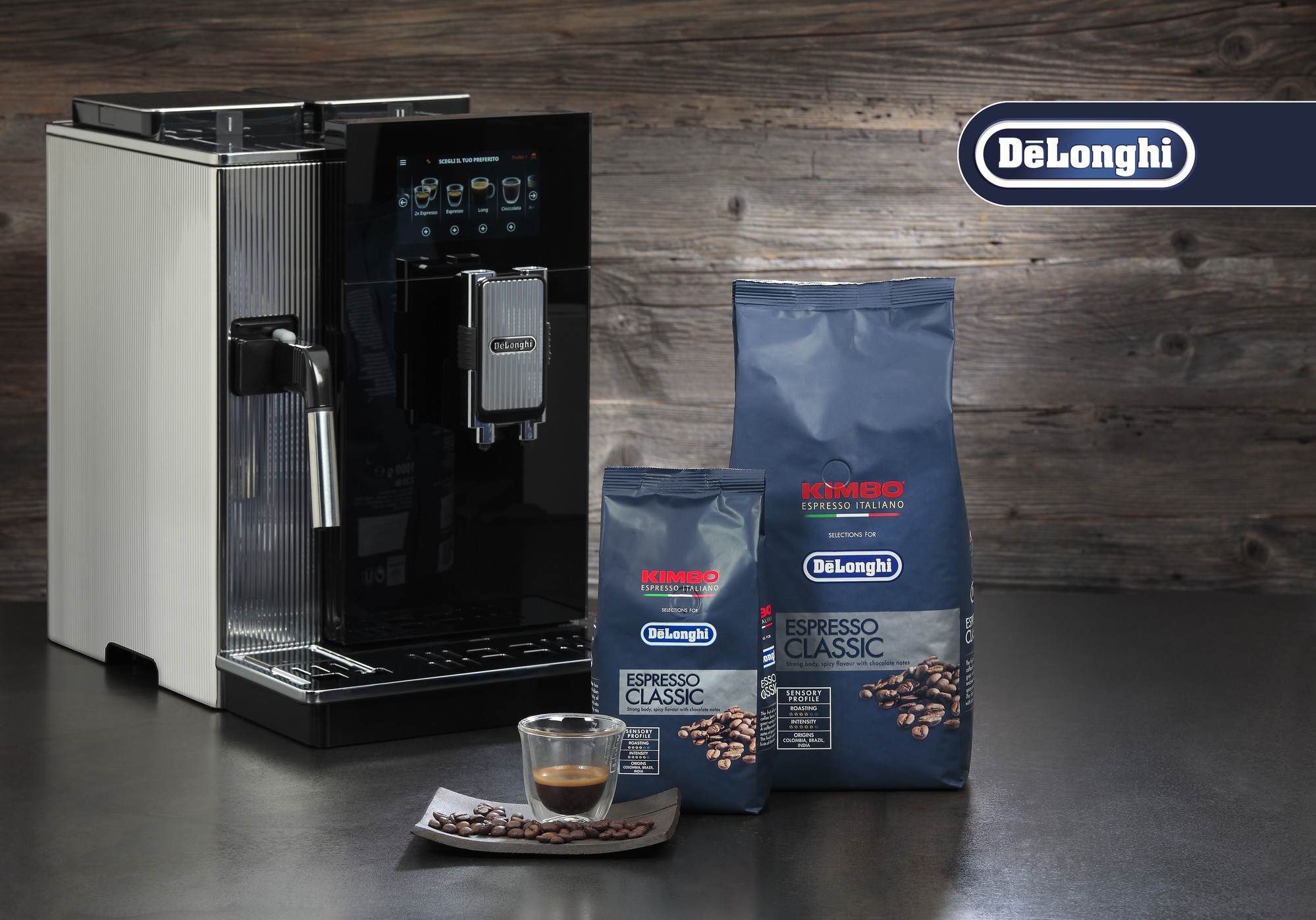 two bags of coffee beans placed in front of a coffee machine