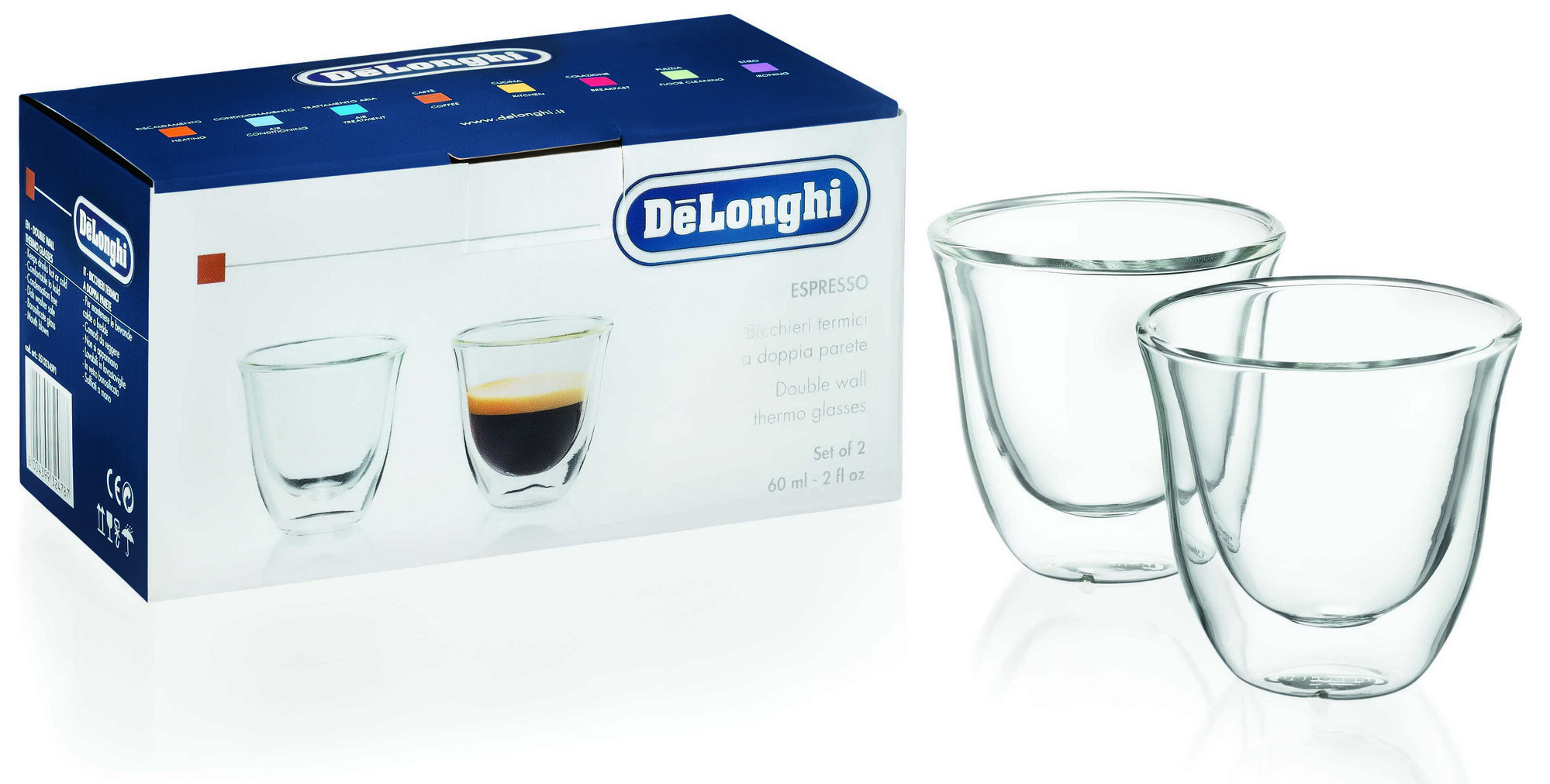 two espresso cups placed beside a box