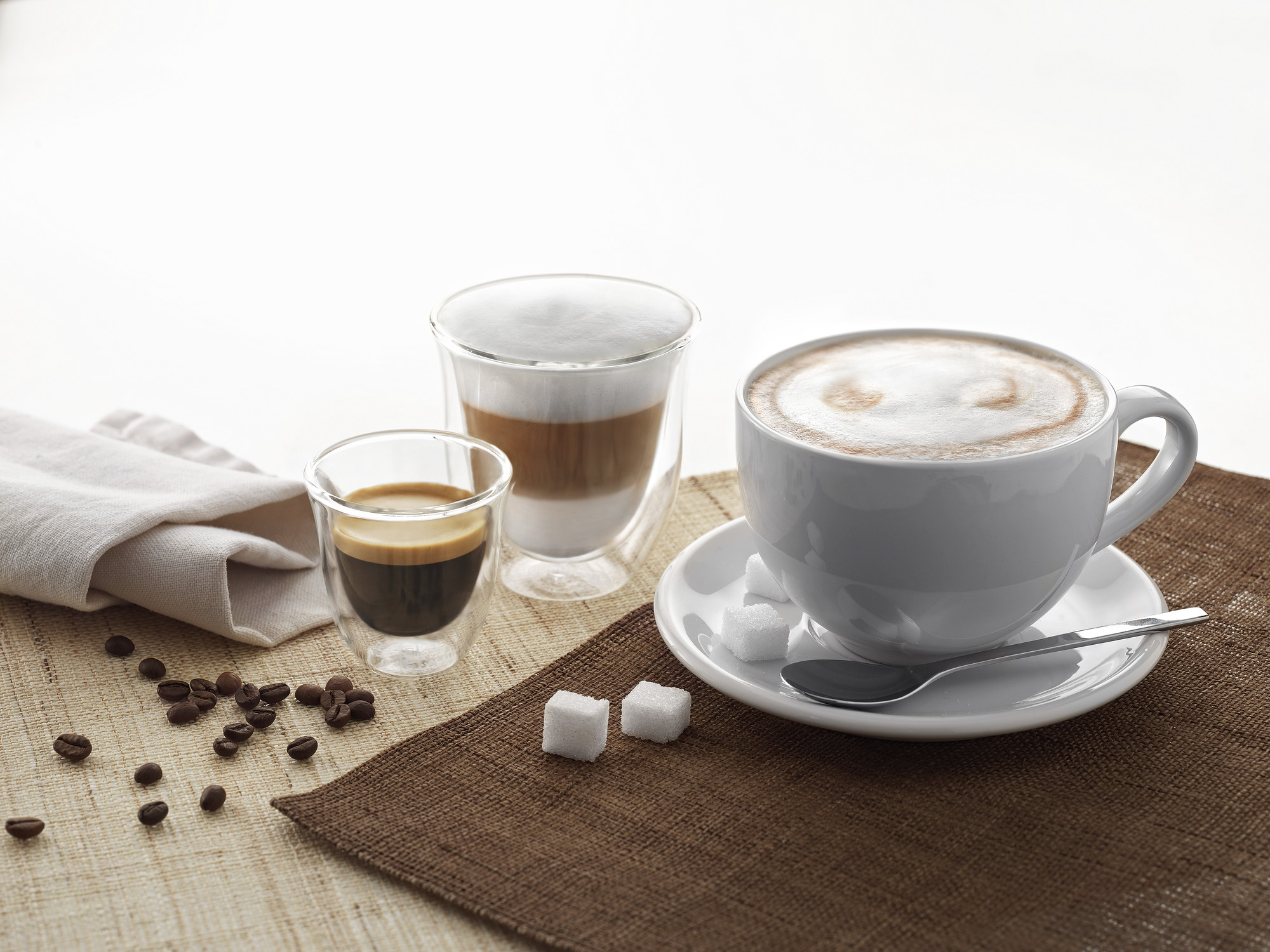 various cups of coffee on a table