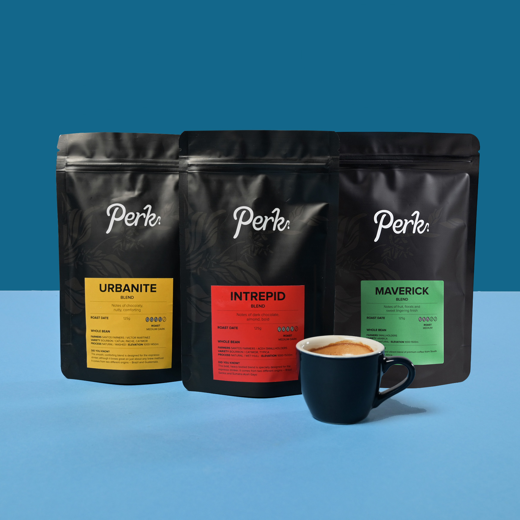 3 packets of coffee grounds from Perk