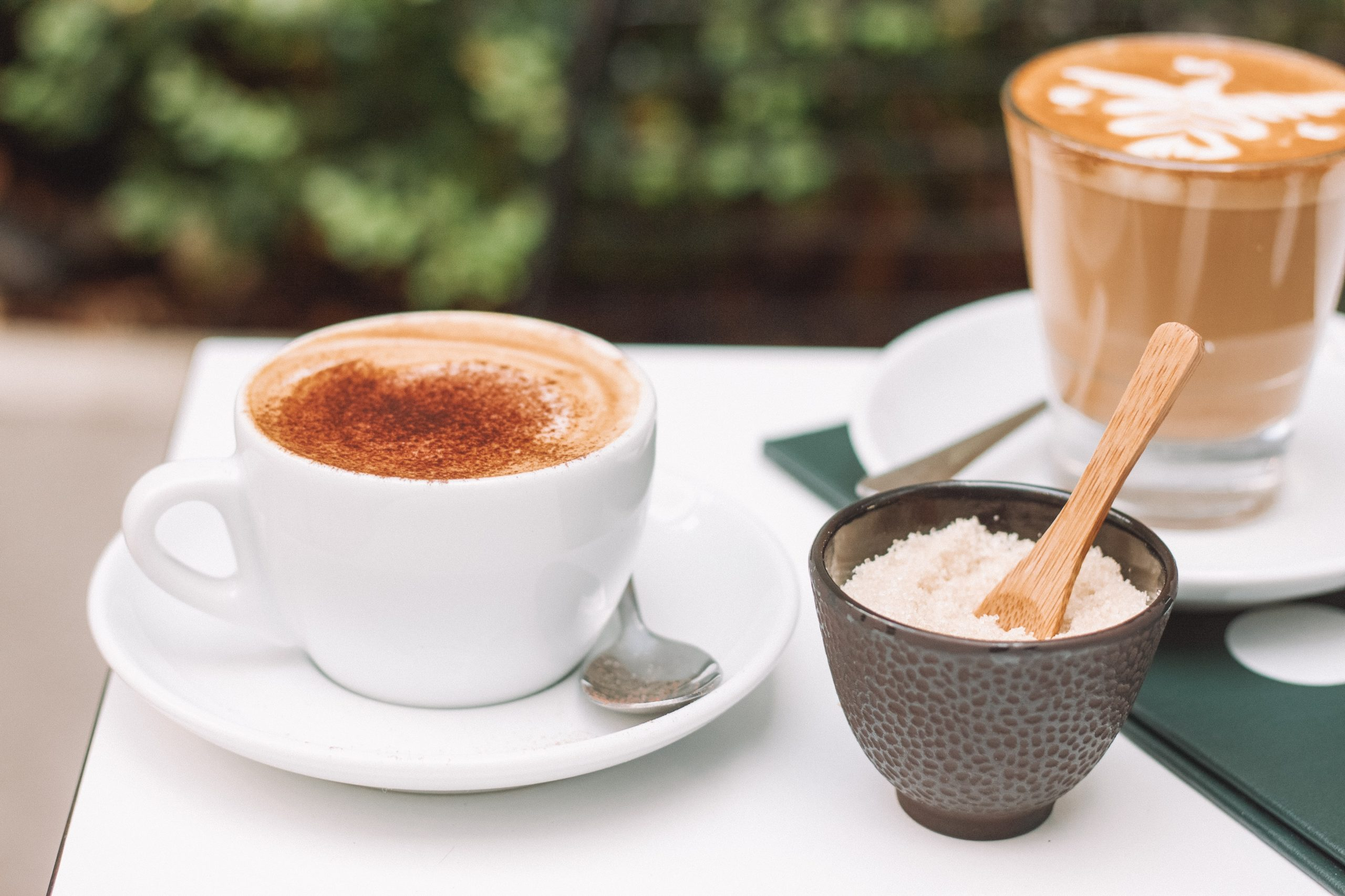 a cup of latte and cappucino
