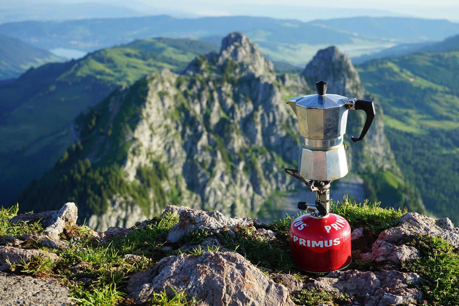 a moka pot at the top of a hill