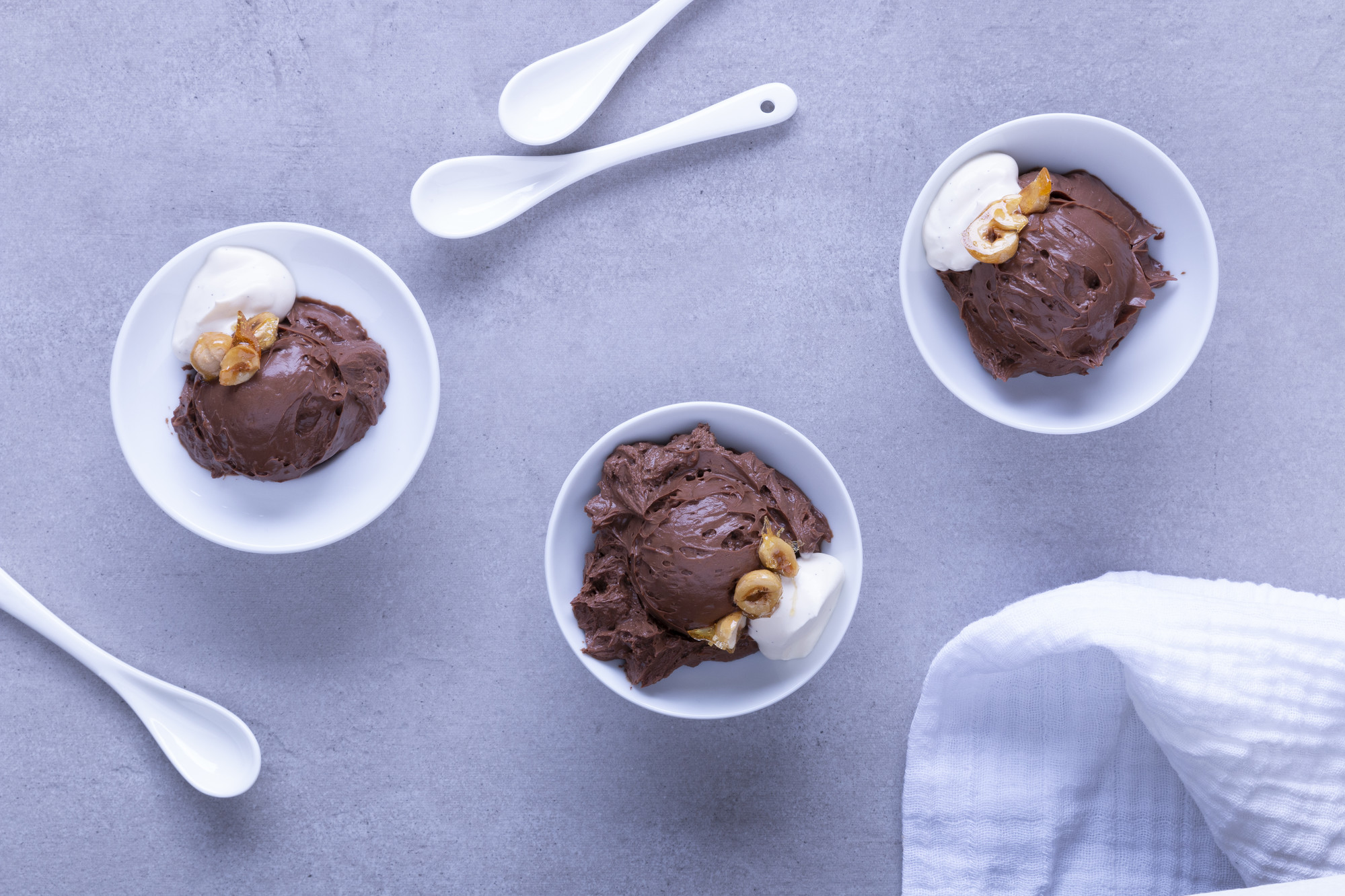 3 bowls of chocolate coffee mousse