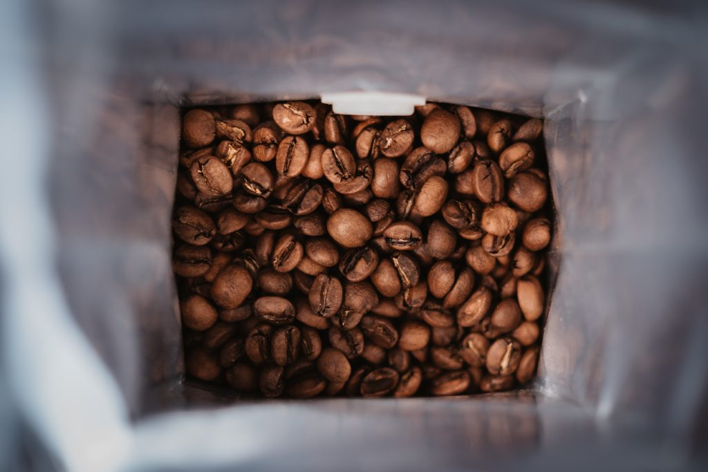 a top view of coffee beans in a bag