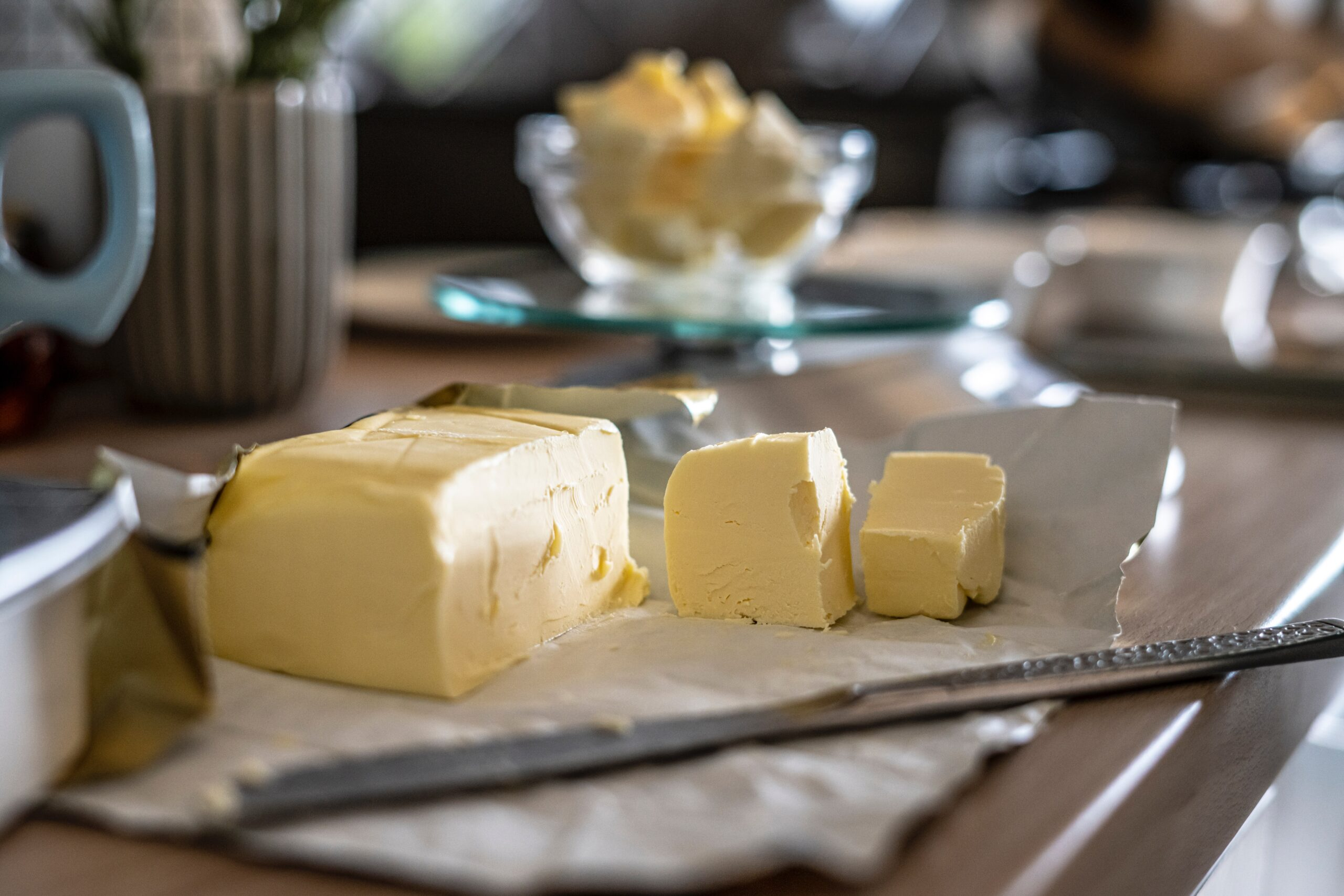 slices of butter on a cutting board